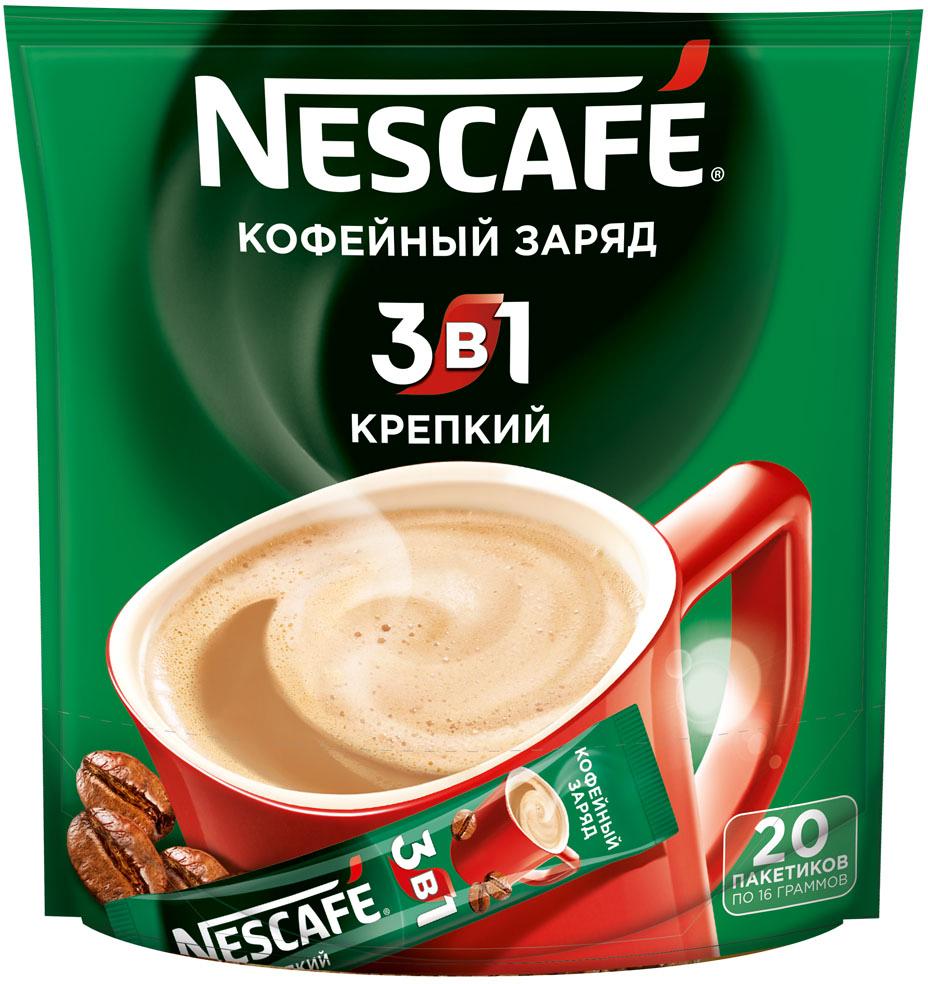 Nescafe 3 в 1 Крепкий кофе растворимый, 20 шт кофейный напиток nescafe 3 в 1 мягкий сливочный вкус порционный