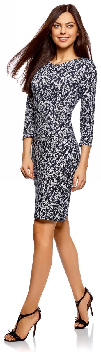 Платье oodji Collection, цвет: темно-синий, белый этника. 24001070-6B/15640/7912E. Размер XXS (40) платье oodji collection цвет черный белый 24001104 1 35477 1079s размер l 48