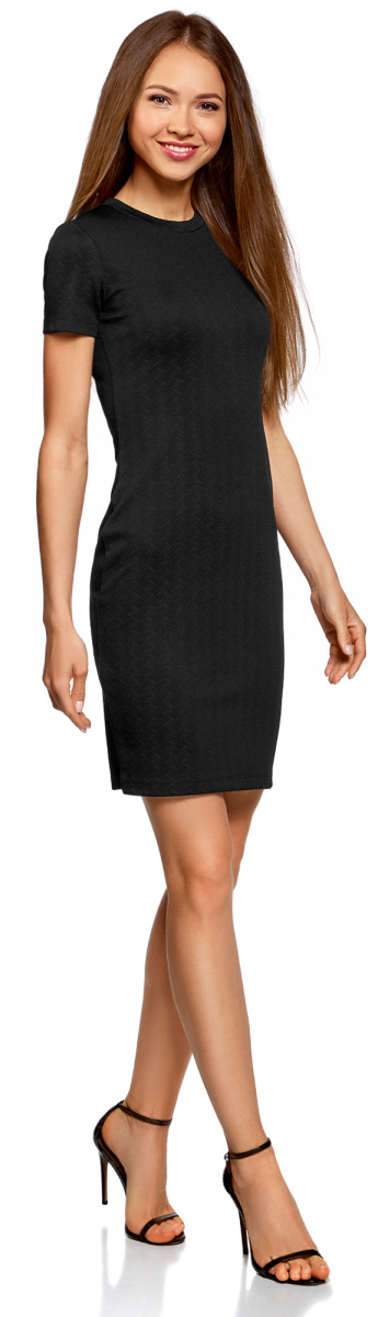 Платье oodji Ultra, цвет: черный. 14011025/42588/2900N. Размер XL (50) платье oodji ultra цвет сиреневый 14017001 6b 47420 8000n размер xl 50