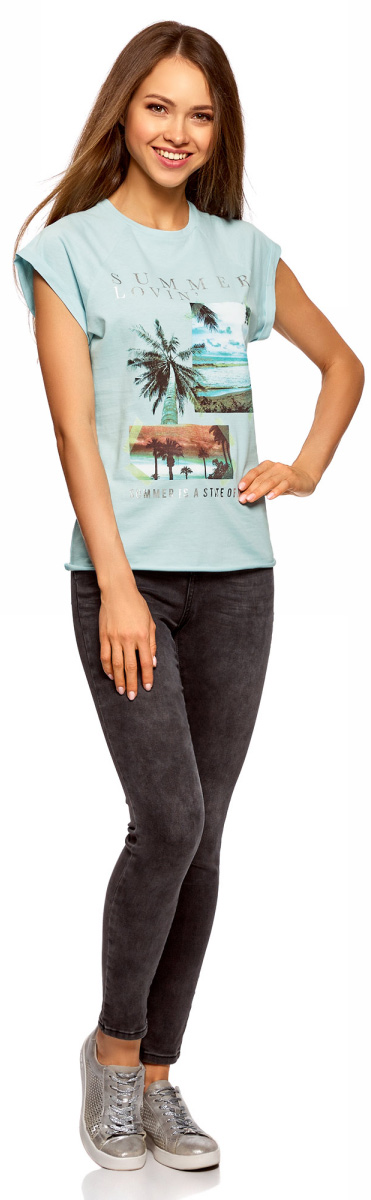 Футболка женская oodji Ultra, цвет: голубой. 14707001-42/46154/7019P. Размер XXS (40) пуловеры oodji пуловер