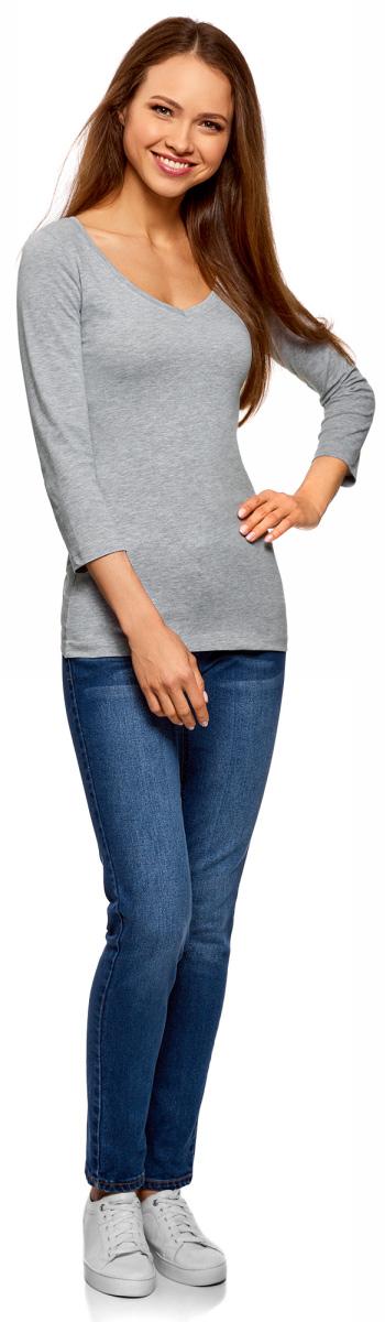 Лонгслив женский oodji Collection, цвет: светло-серый меланж. 24211002B/46147/2000M. Размер L (48)24211002B/46147/2000MЖенский лонгслив Collection с V-образным вырезом и рукавами 3/4 выполнен из эластичного хлопка. Такая модель идеально подойдёт для повседневной носки.