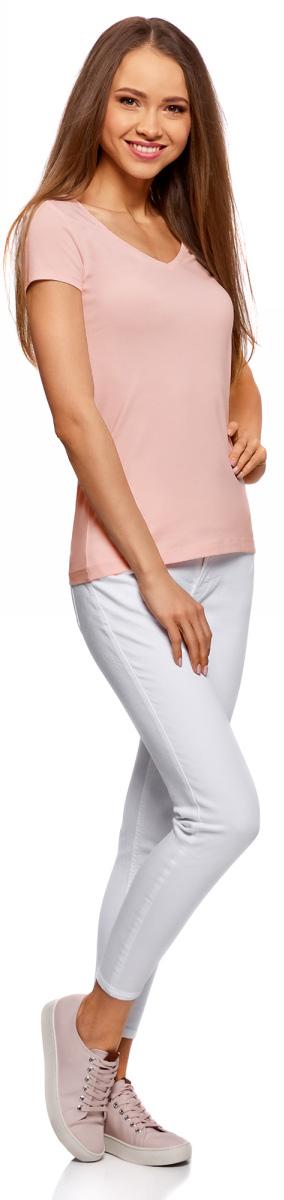 Футболка женская oodji Collection, цвет: светло-розовый. 24701002-5B/46147/4000N. Размер L (48) платье oodji collection цвет черный белый 24001104 1 35477 1079s размер l 48