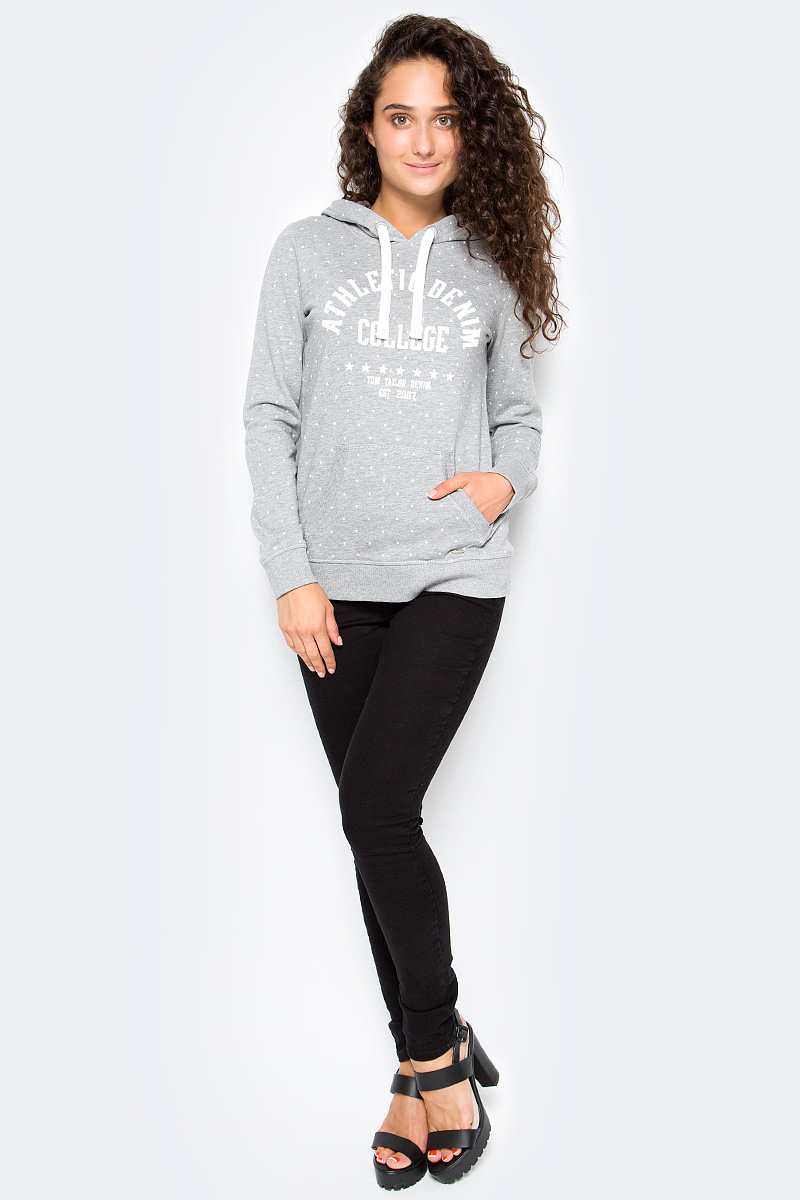 Толстовка женская Tom Tailor, цвет: серый. 2531354.09.71_2973. Размер S (44) футболка женская tom tailor цвет белый 1055030 00 71 8587 размер s 44