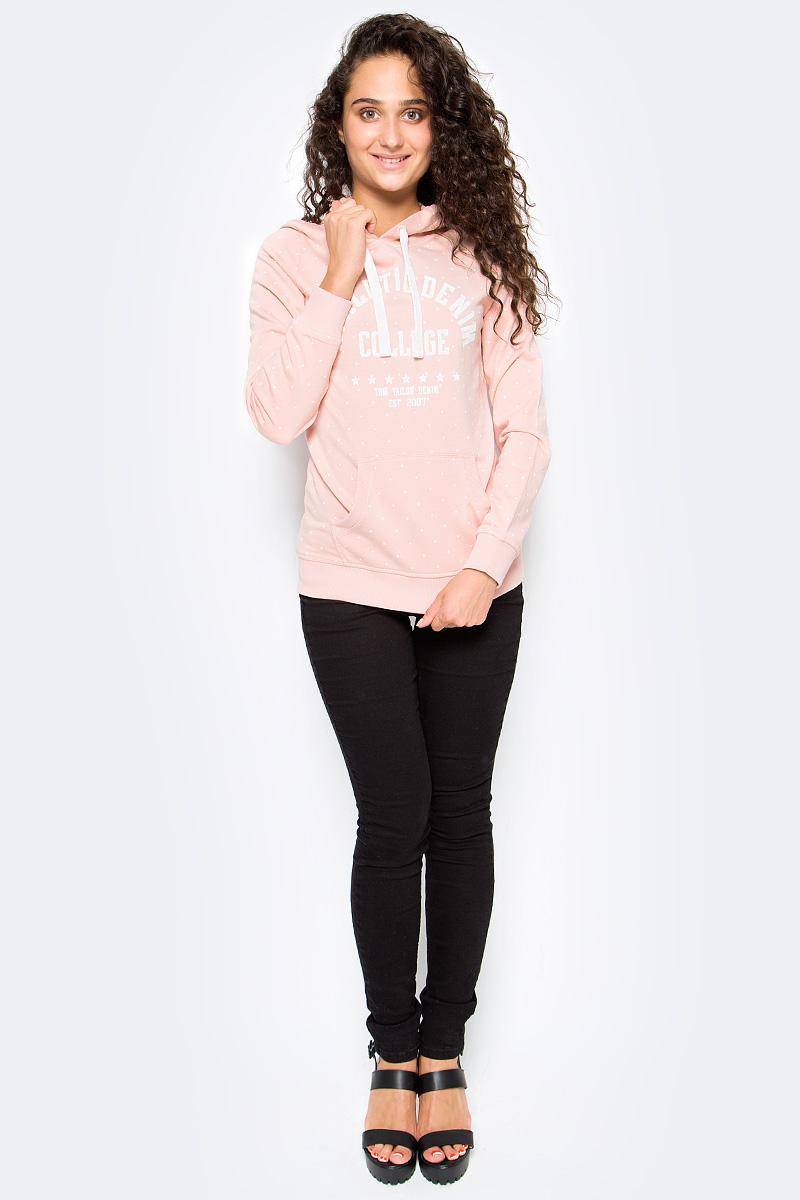 Толстовка женская Tom Tailor, цвет: розовый. 2531354.09.71_4676. Размер L (48)2531354.09.71_4676Женская толстовка Tom Tailor выполнена из хлопкового материала. Модель с длинными рукавами и капюшоном на кулиске спереди дополнена карманом кенгуру.