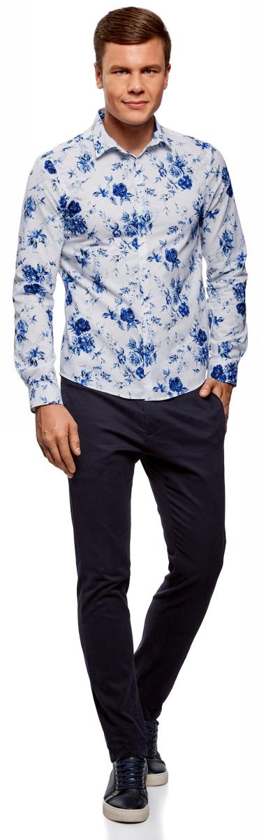 Рубашка мужская oodji Lab, цвет: оптический белый, индиго цветы. 3L310142M/46603N/1078F. Размер M (50-182)3L310142M/46603N/1078FМужская рубашка от oodji выполнена из натурального хлопка. Модель приталенного кроя с длинными рукавами и цветочным принтом застегивается на пуговицы.