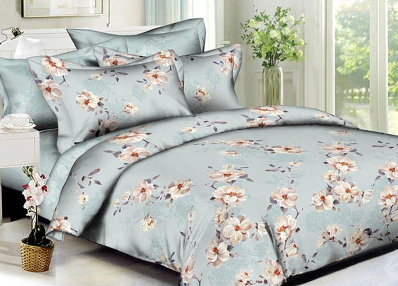 Комплект белья Primavera Classic. Шиповник белый, евро, наволочки 70x70, цвет: голубой95721