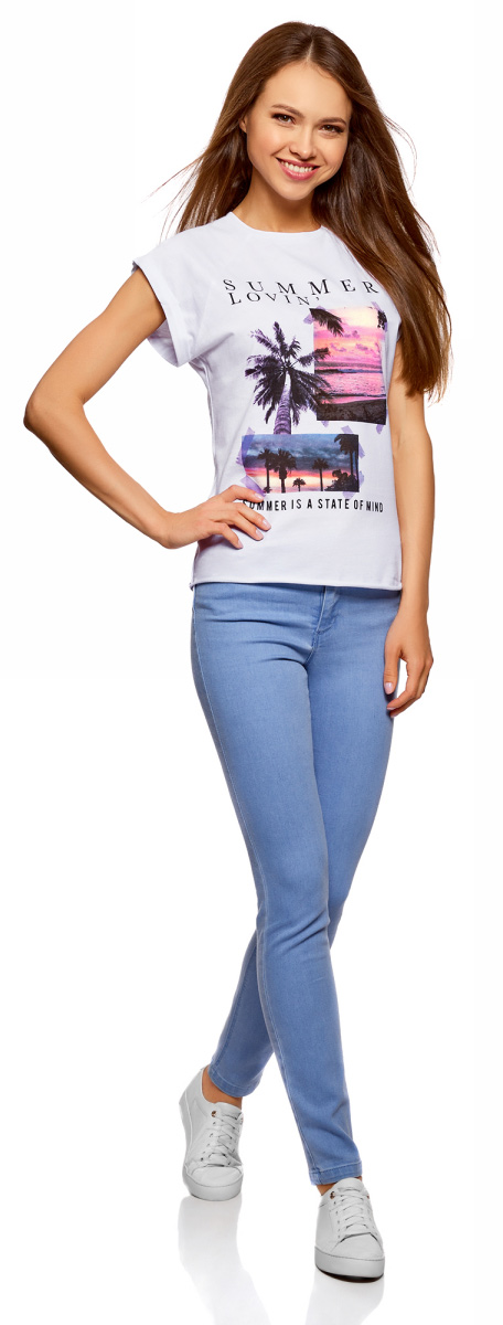 Футболка женская oodji Ultra, цвет: белый. 14707001-42/46154/1019P. Размер XXL (52) футболка oodji футболка