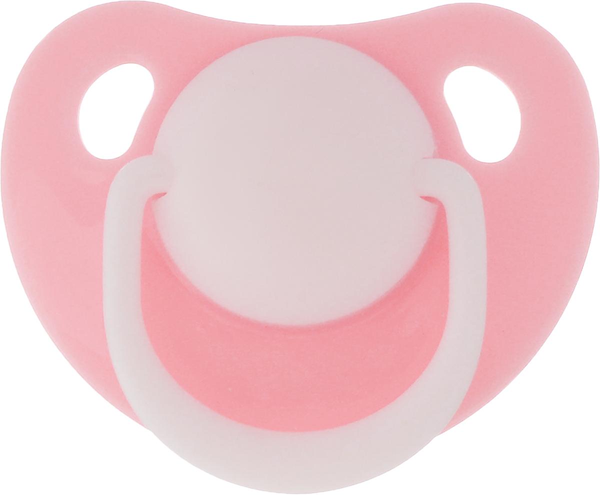 Lubby Пустышка силиконовая ортодонтическая Классика от 0 месяцев цвет светло-розовый