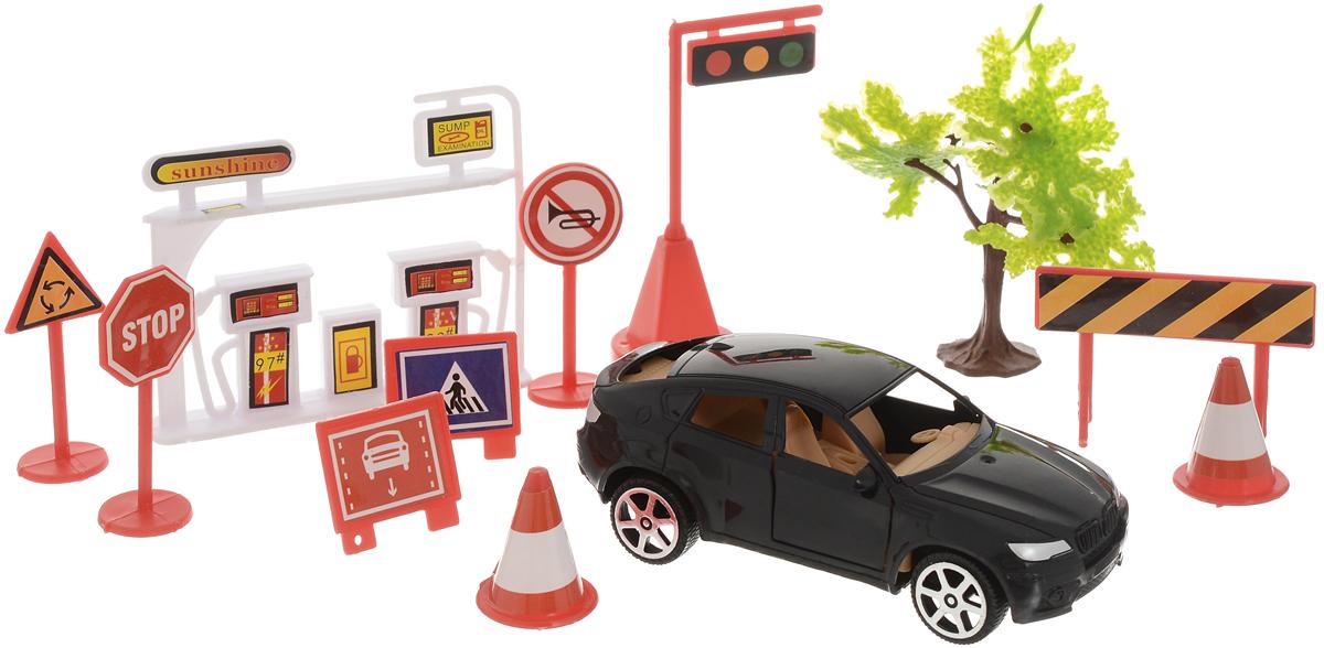 ABtoys Игровой набор Автозаправка цвет машинки черный