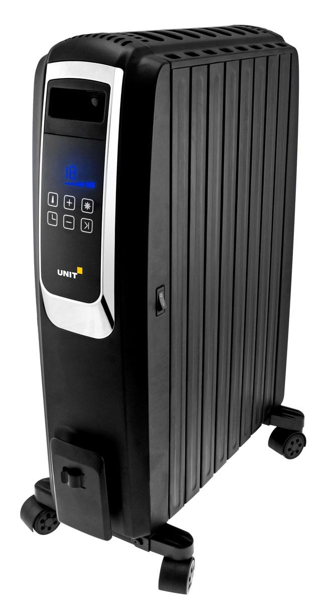Unit UOR-993, Black масляный обогреватель495644Unit UOR-993 - надёжный и современный масляный обогреватель с пультом дистанционного управления, LED - дисплеем и цифровым термостатом для точной регулировки температуры. Сочетание LED - дисплея и сенсорного управления позволит вам легко менять температуру и режимы обогрева, а благодаря пульту дистанционного управления, таймеру и ECO-режиму вы сможете создавать и поддерживать комфорт в доме, не вставая с дивана.3 режима мощностиТаймер включения/выключенияБыстрый нагрев и бесшумная работаОтсек для хранения шнураКак выбрать обогреватель. Статья OZON Гид