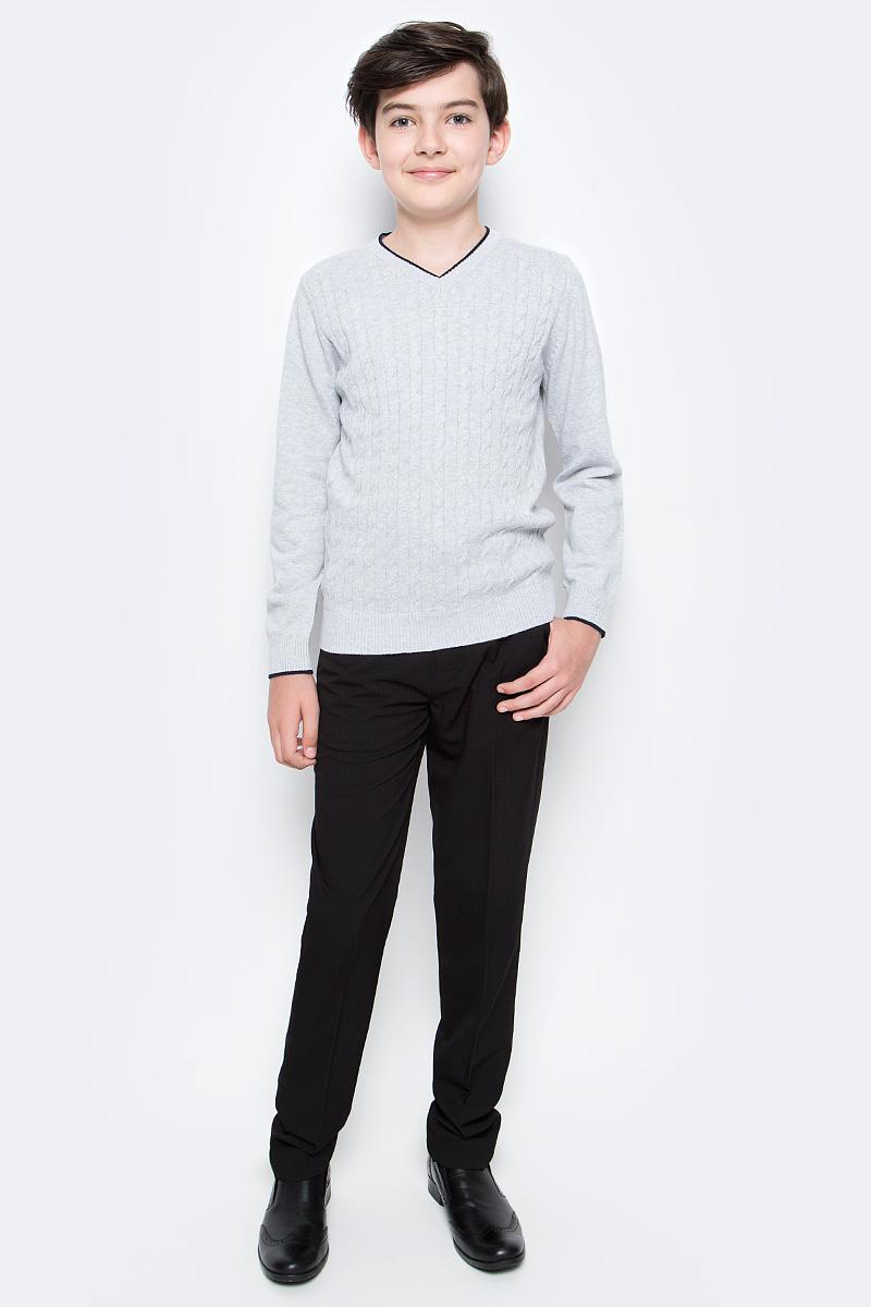 Пуловер для мальчика Sela, цвет: светло-серый меланж. JR-814/259-6332. Размер 152, 12 лет джемпер для девочки sela цвет синий меланж jr 614 892 7141 размер 152 12 лет