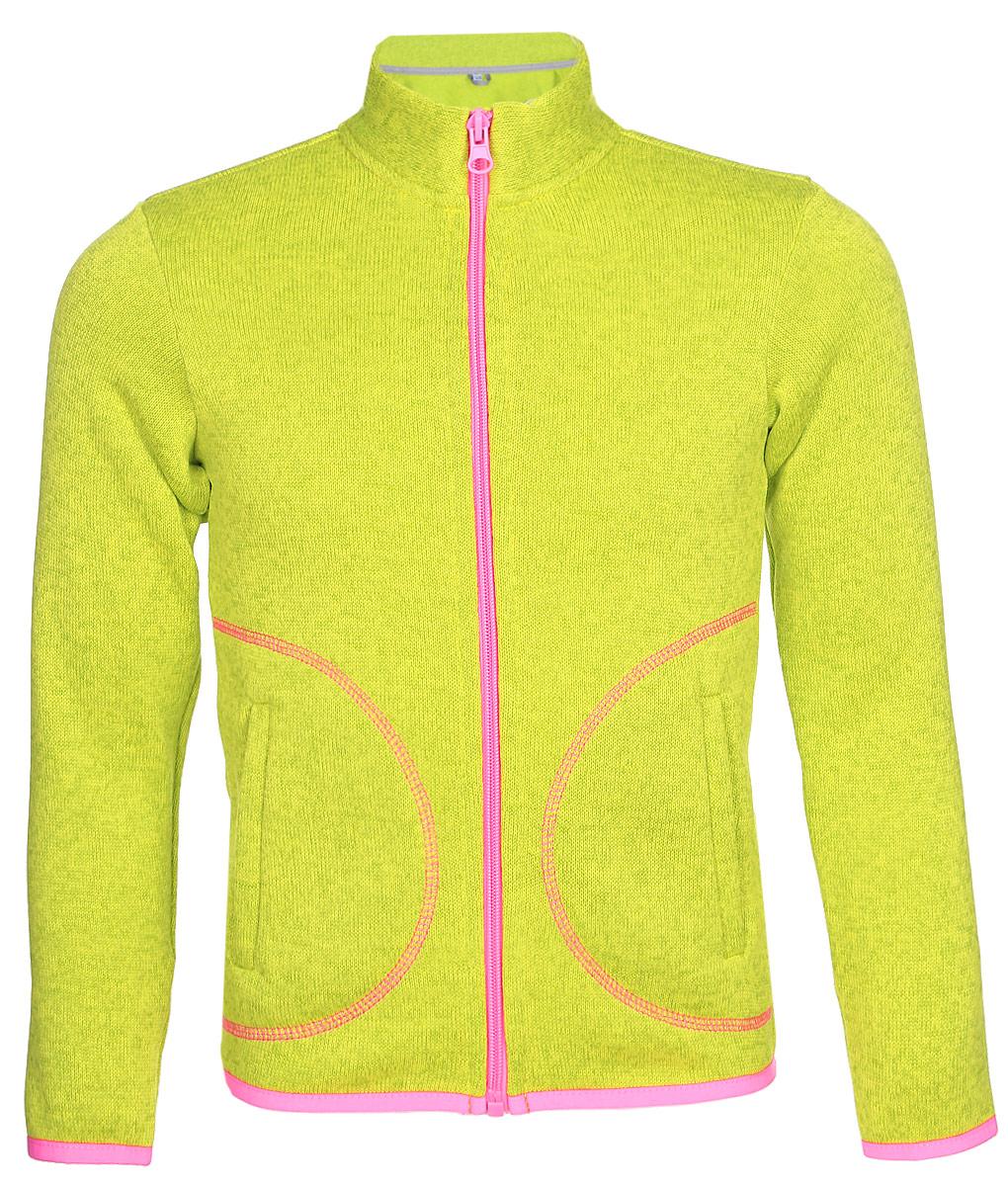 Толстовка флисовая для девочки Oldos Active Агата, цвет: лимонный. 4К1705. Размер 110, 5 лет4К1705Толстовка OLDOS ACTIVE Агата на молнии из вязаного флиса для девочки. С внешней стороны флис имеет вязаную фактуру, с внутренней - ворсистую. Вязаный флис эффективно отводит влагу, защищает от ветра, держит тепло и позволяет коже дышать. Воротник-стойка хорошо прилегает и закрывает шею ребенка от ветра. Изнутри шов воротника укреплен х/б лентой, что предотвращает деформацию и натирание. Низ рукавов и кофты окантованы эластичной тесьмой, есть карманы. Толстовка приятна телу, мягкая и легкая, в ней будет комфортно и тепло на улице и в помещении. Можно использовать в качестве второго слоя в осенне-зимний период.