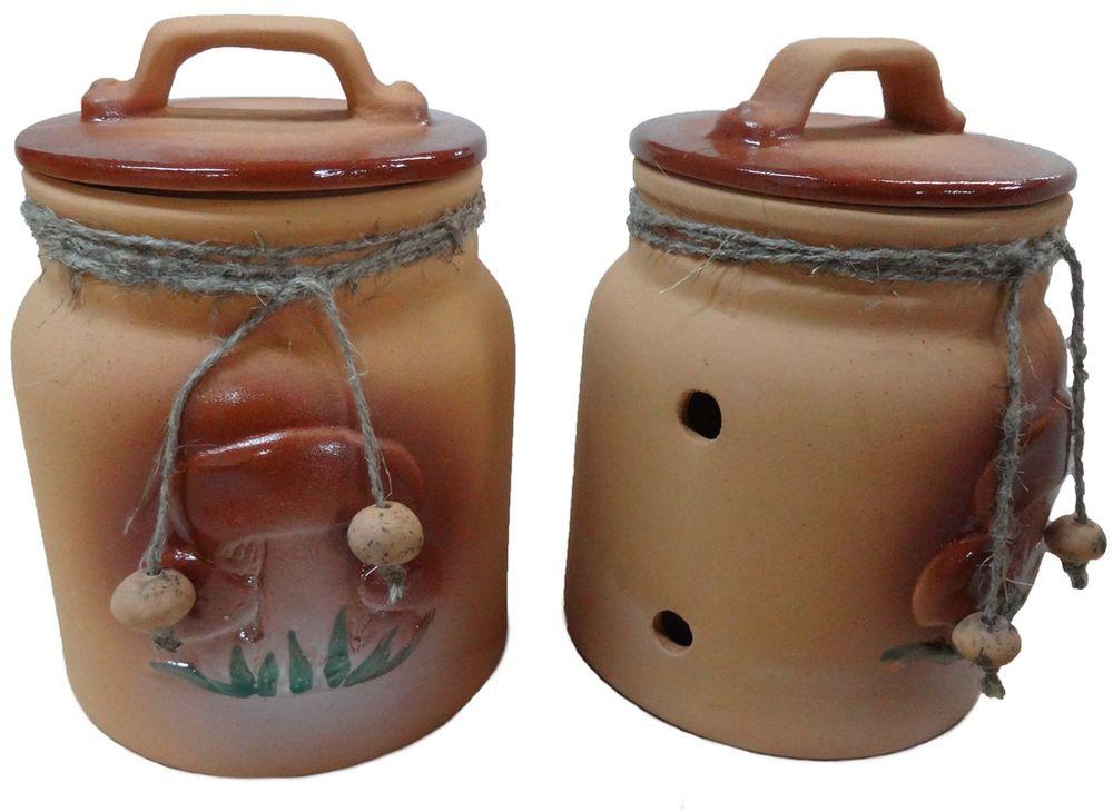 Банка для грибов Борисовская керамика Стандарт, 1 лОБЧ14458287Стильная керамическая баночка, на боках - дырочки для вентиляции, внизу рельефное изображение грибов в траве. Лучший вариант для хранения засушенных грибочков!