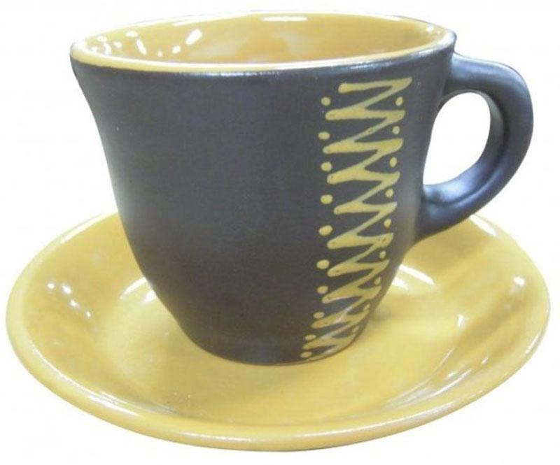 Чайная пара Борисовская керамика Чугун, 300 млЧУГ00000638Чашка для чая с блюдцем ЧУГ00000638. Материал: Керамика. Объем: 0,3