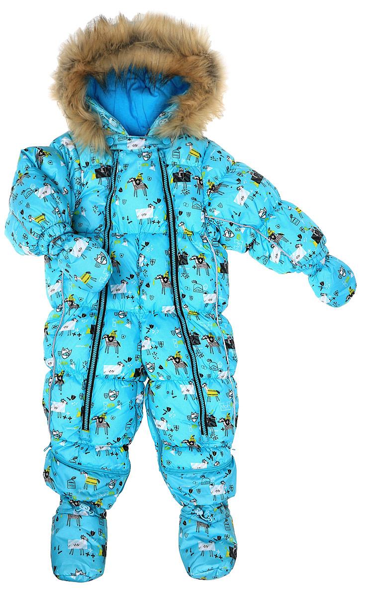 Комбинезон-трансформер для мальчика Oldos Морис, цвет: голубой. 1O7OV01. Размер 74, 9 месяцев1O7OV01Зимний комбинезон-трансформер для мальчика Oldos Морис идеально подойдет для вашего малыша в холодное время года. Комбинезон изготовлен из водонепроницаемой и ветрозащитной ткани на хлопковой подкладке. Водо- и грязеотталкивающее покрытие повышает износостойкость модели, что обеспечит ей хороший внешний вид на всем протяжении носки. В качестве наполнителя используется современный утеплитель (искусственный лебяжий пух) - легкий, как натуральный, сохраняет тепло, не впитывает влагу, сохраняет и быстро восстанавливает объем, гипоаллергенен.Комбинезон-трансформер с капюшоном застегивается на две длинные застежки-молнии, благодаря чему ребенка будет легко одевать или раздевать, не тревожа его сон. Молнии зафиксированы сверху застежками-кнопками. Капюшон не отстегивается и оформлен съемной меховой опушкой. Капюшон регулируется в объеме. Низ рукавов дополнен внутренними трикотажными манжетами. Снизу брючин предусмотрены съемные эластичные штрипки, одевающиеся на ступню и не дающие брючинам задираться вверх. Благодаря удобной системе молний комбинезон можно трансформировать в конверт с рукавами.Изделие имеет светоотражающие элементы.В комплект с комбинезоном входят рукавички на кнопках и пинетки, также пристегивающиеся к брючинам с помощью кнопок. Пока ребенок маленький - удобно использовать в виде конверта, а когда подрастет - носить полноценный комбинезон.Рекомендуемый температурный режим от 0°C до -35°C.В таком комбинезоне вашему ребенку всегда будет тепло, комфортно и уютно!