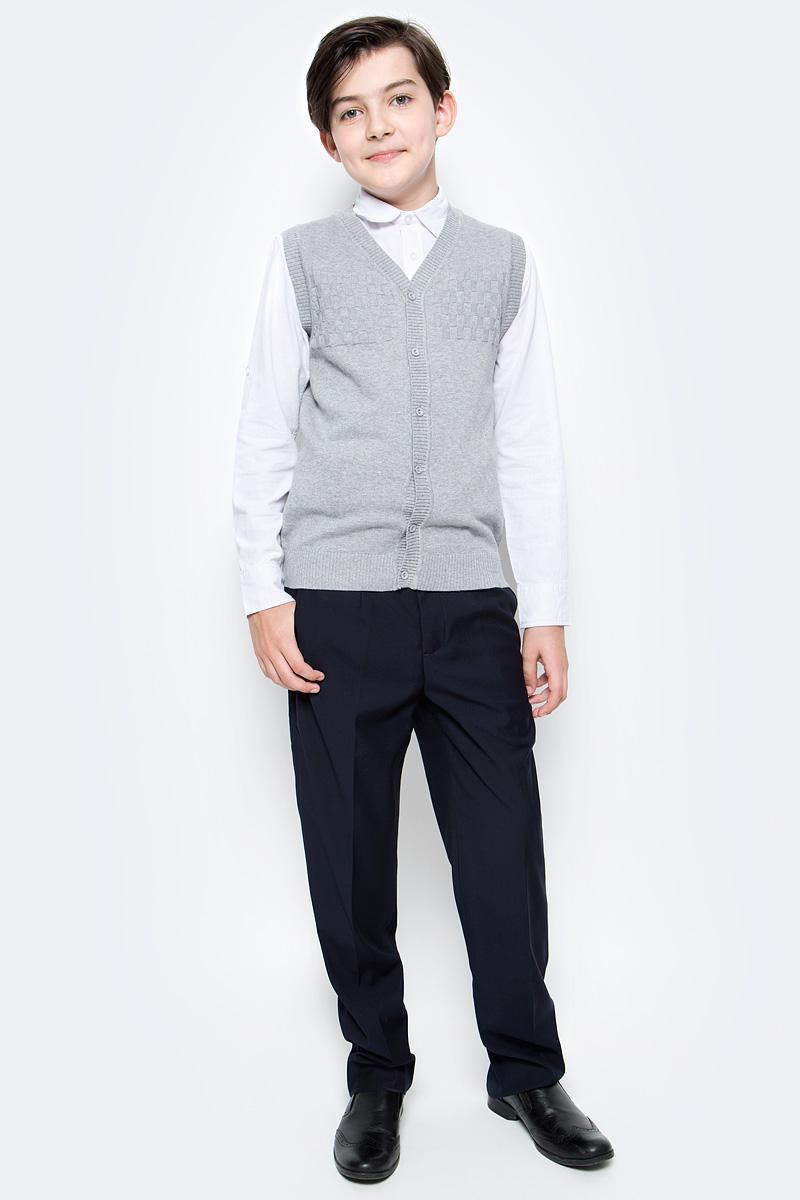 Жилет для мальчика Vitacci, цвет: серый. 1173002-02. Размер 1521173002-02Жилет школьный для мальчика выполнен из натурального хлопка. Модель застегивается на пуговицы.