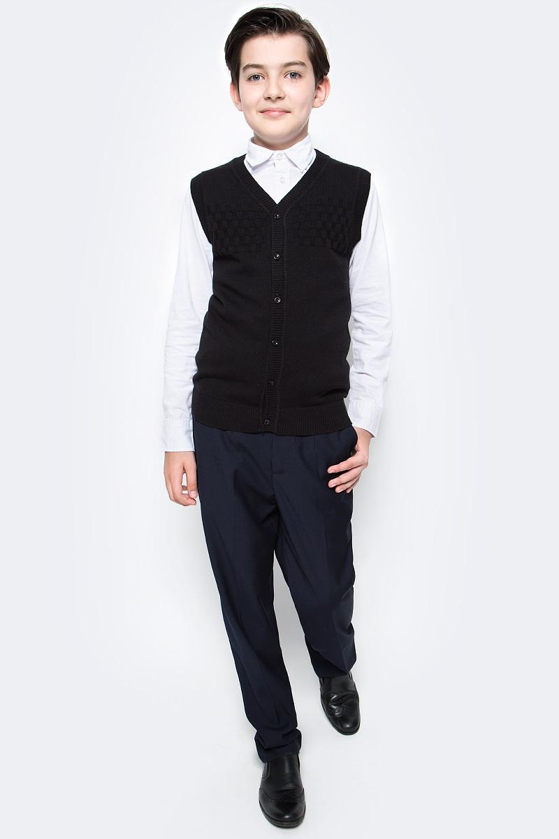 Жилет для мальчика Vitacci, цвет: черный. 1173002-03. Размер 1521173002-03Жилет школьный для мальчика выполнен из натурального хлопка. Модель застегивается на пуговицы.