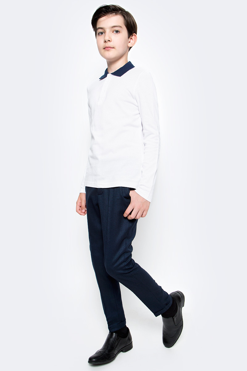 Поло для мальчика Button Blue, цвет: белый. 217BBBS14010200. Размер 164, 14 лет сарафан для девочки button blue цвет серый 215bbgs5004 размер 164 14 лет