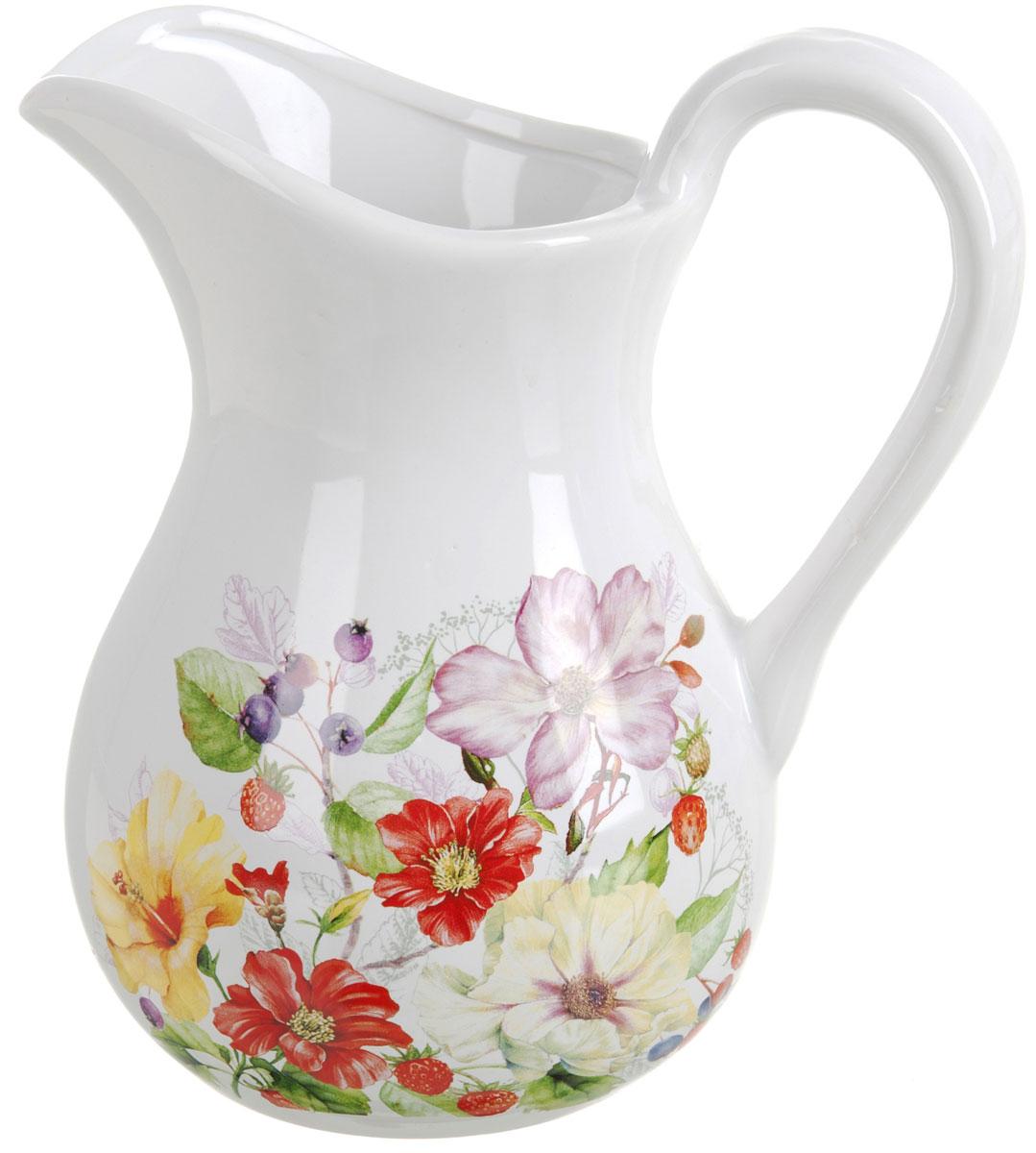 Кувшин Polystar Summer, 1 лL2430913Кувшин Summer изготовлен из высококачественной керамики с нежным цветочным рисунком. Кувшин оснащен удобной ручкой. Прекрасно подходит для подачи воды, сока, компота и других напитков.Изящный кувшин красиво оформит стол и порадует вас элегантным дизайном и простотой ухода.