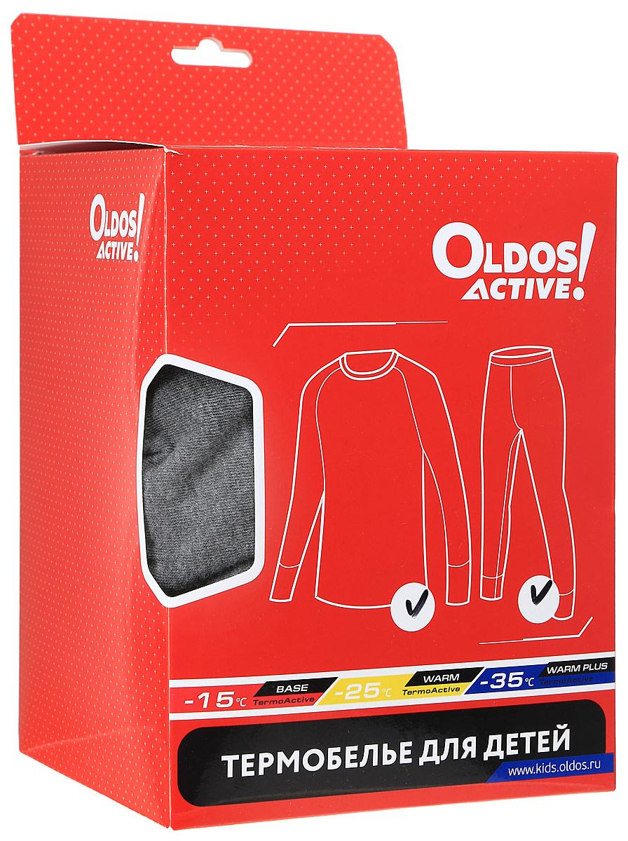Комплект термобелья для девочки Oldos Active Base:  футболка с длинным рукавом, леггинсы, цвет:  темно-серый, малиновый.  001ДН.  Размер 152, 12 лет