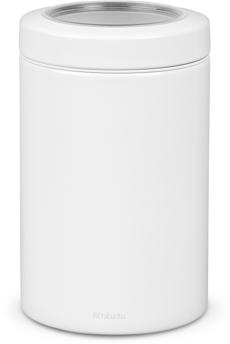 Контейнер для сыпучих продуктов Brabantia, цвет: белый, 1,4 л. 481741481741Контейнеры Brabantia для сыпучих продуктов позволяют дольше сохранить ваш кофе, чай, макаронные изделия и другие продукты свежими. Крышка плотно закрывается и не пропускает запахи, что позволяет дольше сохранить аромат и свежесть продуктов.Контейнер изготовлен из антикоррозийной стали с защитным покрытием и легко чистится благодаря гладкой внутренней поверхности.Контейнер Brabantia объемом 1,4 л вмещает 500 г кофе или 1 кг сахара.