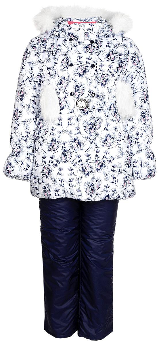 Комплект для девочки Oldos Тая: куртка и полукомбинезон, цвет: белый, синий. 1O7SU04. Размер 128, 8 лет1O7SU04Теплый комплект для девочки Oldos Тая идеально подойдет для вашей малышки в холодное время года. Комплект состоит из куртки и полукомбинезона, изготовленных из водоотталкивающей ткани. В качестве наполнителя используется утеплитель нового поколения HOLLOFAN плотностью 250/200 г/м2: он сохраняет тепло, гипоаллергенен и быстро сохнет.Подкладка - хлопок, в рукавах и брючинах - гладкий полиэстер.В сильные морозы пригодится съемная меховая подстежка из очищенной 60% шерсти.Удлиненная куртка застегивается на застежку-молнию и кнопки. Имеется отстегивающийся капюшон, декорированный меховой опушкой, которую можно легко отстегнуть. Рукава оснащены внутренними саморегулирующимися трикотажными манжетами. На талии куртка дополнена пояском, благодаря которому куртка плотно прилегает к телу. Спереди расположены карманы. На подкладке предусмотрена нашивка-потеряшка.Полукомбинезон с небольшой грудкой застегивается на застежку-молнию и имеет наплечные широкие лямки, регулируемые по длине. На талии имеется широкая эластичная резинка, которая позволяет надежно заправить рубашку, водолазку или свитер. По бокам имеются карманы. Снизу брючин предусмотрены внутренние муфты из нескользящей резинки, препятствующие попадаю снега и холодного воздуха в обувь.Куртка и полукомбинезон дополнены светоотражающими элементами. Рекомендованный температурный режим от 0°С до -35°С.Комфортный, удобный и практичный комплект идеально подойдет для прогулок и игр на свежем воздухе!