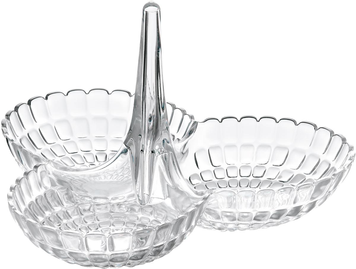 Менажница Guzzini Tiffany, цвет: прозрачный19920000Менажница Tiffany представляет собой три одинаковых по размеру чаши, соединенных посередине вертикальной удобной ручкой. Её можно использовать для подачи снеков, легких закусок, орехов и сладостей. Дизайн менажницы отличается оригинальной рельефной формой, которая в сочетании с прозрачным материалом заставляет поверхность сверкать и переливаться на свету. Менажница отлично подойдет для праздничной сервировки стола и привлечет внимание гостей. Будет одинаково хорошо смотреться как в квартире, так и на летней веранде на даче.Изготовлена из высококачественного органического стекла, устойчивого к износу и повреждениям. Не содержит вредных примесей и бисфенола-А. Моется вручную.