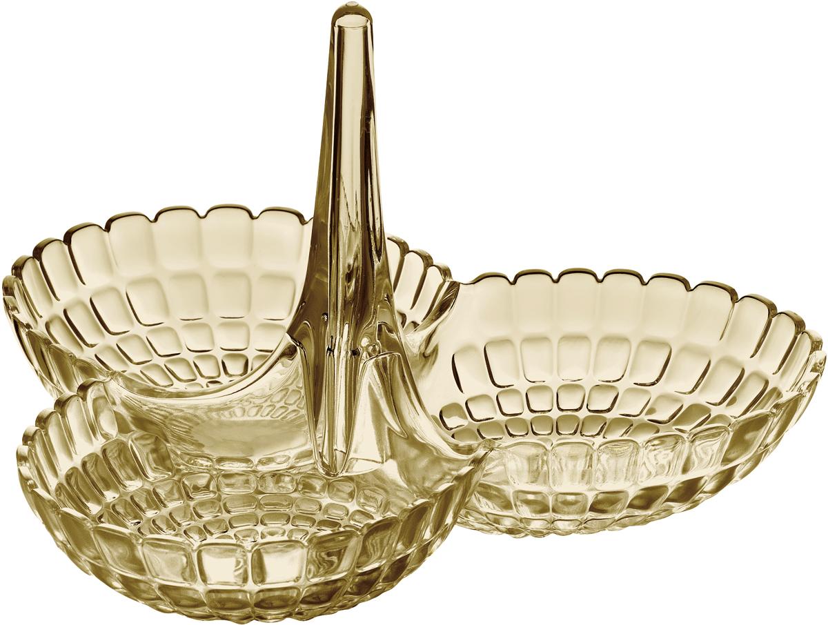 Менажница Guzzini Tiffany, цвет: песочный19920039Менажница Tiffany представляет собой три одинаковых по размеру чаши, соединенных посередине вертикальной удобной ручкой. Её можно использовать для подачи снеков, легких закусок, орехов и сладостей. Дизайн менажницы отличается оригинальной рельефной формой, которая в сочетании с прозрачным материалом заставляет поверхность сверкать и переливаться на свету. Менажница отлично подойдет для праздничной сервировки стола и привлечет внимание гостей. Будет одинаково хорошо смотреться как в квартире, так и на летней веранде на даче.Изготовлена из высококачественного органического стекла, устойчивого к износу и повреждениям. Не содержит вредных примесей и бисфенола-А. Моется вручную.