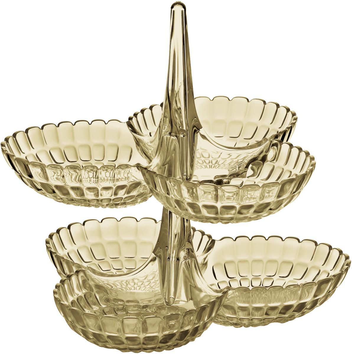 Набор менажниц Guzzini Tiffany, цвет: песочный, 2 шт19920139Менажница Tiffany представляет собой вертикальную опору, которая соединяет между собой три одинаковых по размеру чаши. Их можно использовать для подачи снеков, легких закусок, орехов и сладостей. Дизайн менажницы отличается оригинальной рельефной формой, которая в сочетании с прозрачным материалом заставляет поверхность сверкать и переливаться на свету.Набор менажниц отлично подойдет для праздничной сервировки стола и привлечет внимание гостей. Будет одинаково хорошо смотреться как в квартире, так и на летней веранде на даче. Блюда можно поставить одно на другое, тем самым создав единую версию сразу с шестью чашами. Идеально для вечеринок и больших компаний. Изготовлены из высококачественного органического стекла, устойчивого к износу и повреждениям. Не содержат вредных примесей и бисфенола-А. Моются вручную.