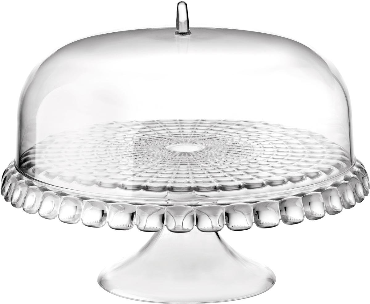 Тортовница Guzzini Tiffany, цвет: прозрачный, диаметр 36 см19940000Тортовница Guzzini Tiffany с прозрачной крышкой в форме купола украсит собой любой праздничный стол или чаепитие на открытом воздухе. Дизайн предмета отличается оригинальной рельефной формой, которая в сочетании с прозрачным материалом заставляет поверхность сверкать и переливаться на свету.Тортовница идеально подойдет для подачи выпечки, сладостей, небольших закусок и, конечно, тортов. Крышка защитит продукты от заветривания, насекомых и других внешних факторов, что особенно важно для дачной или уличной сервировки. Изготовлена из высококачественного органического стекла, устойчивого к износу и повреждениям. Не содержит вредных примесей и бисфенола-А. Моется вручную.