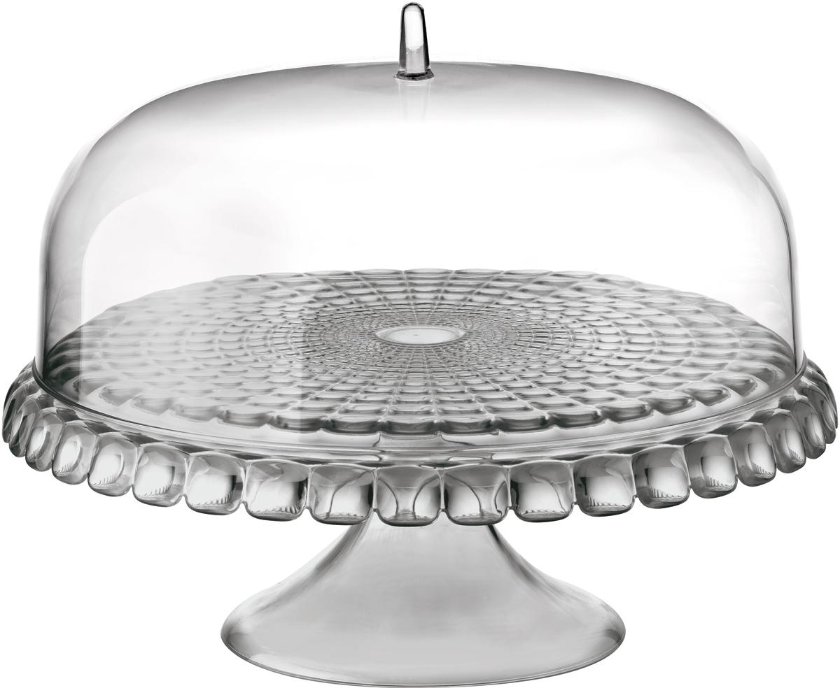 Тортовница Guzzini Tiffany, цвет: серый, 36 см19940092Тортовница Tiffany с прозрачной крышкой в форме купола. Украсит собой любой праздничный стол или чаепитие на открытом воздухе. Дизайн предмета отличается оригинальной рельефной формой, которая в сочетании с прозрачным материалом заставляет поверхность сверкать и переливаться на свету.Тортовница идеально подойдет для подачи выпечки, сладостей, небольших закусок и, конечно, тортов. Крышка защитит продукты от заветривания, насекомых и других внешних факторов, что особенно важно для дачной или уличной сервировки. Диаметр - 36 см. Изготовлена из высококачественного органического стекла, устойчивого к износу и повреждениям. Не содержит вредных примесей и бисфенола-А. Моется вручную.