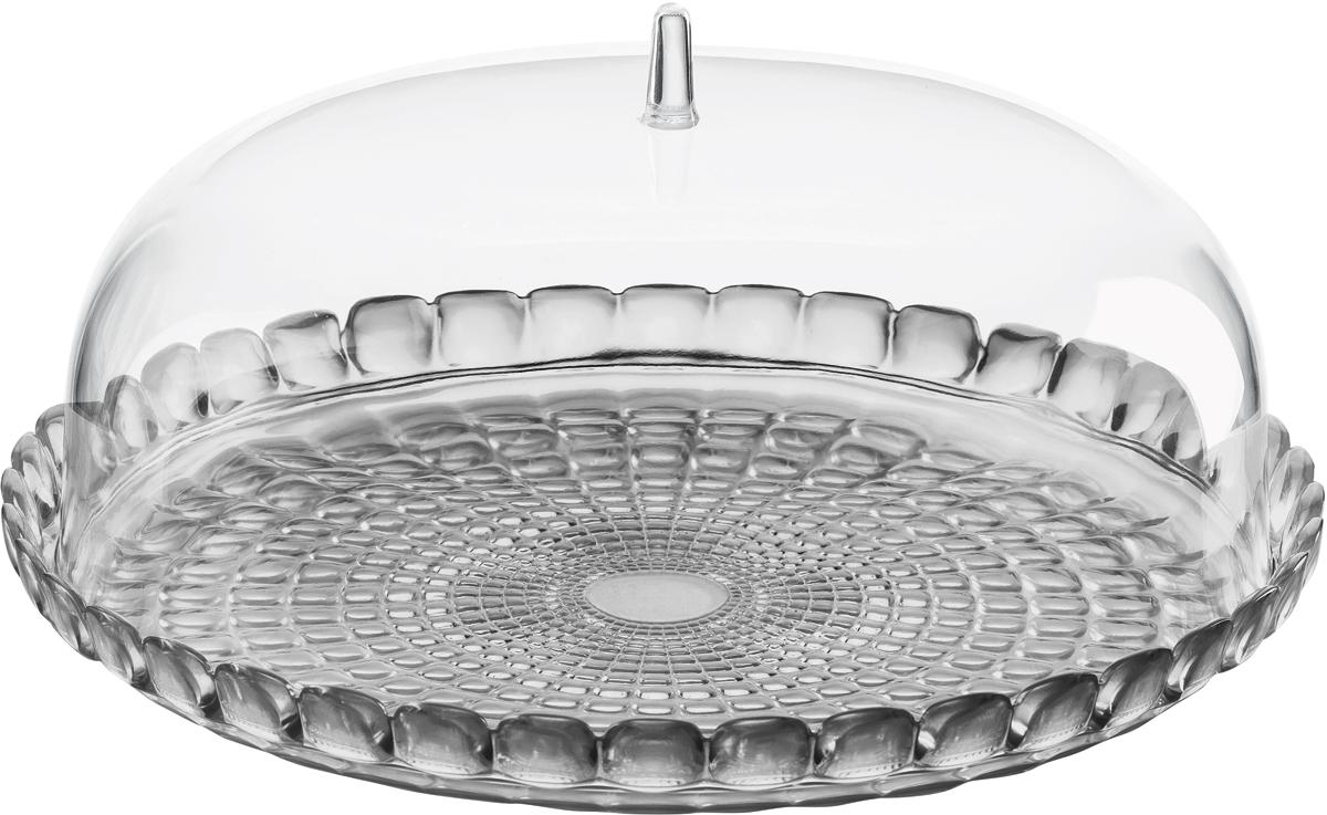 Блюдо сервировочное Guzzini Tiffany, цвет: серый19950092Блюдо для выпечки с прозрачной крышкой в форме купола. Красивый и функциональный предмет для подачи пирожных, тортов, сладостей, а так же фруктов и закусок. Дизайн блюда отличается оригинальной рельефной формой, которая в сочетании с прозрачным материалом заставляет поверхность сверкать и переливаться на свету.Блюдо можно переворачивать и использовать с двух сторон: загнутые края подходят для сервировки мягкой выпечки и пирожных, а плоская сторона идеальна для целых тортов и пирогов. Прозрачная крышка защитит продукты от заветривания, насекомых и других внешних факторов, что особенно важно для дачной или уличной сервировки. Изготовлено из высококачественного органического стекла, устойчивого к износу и повреждениям. Не содержит вредных примесей и бисфенола-А. Моется вручную.