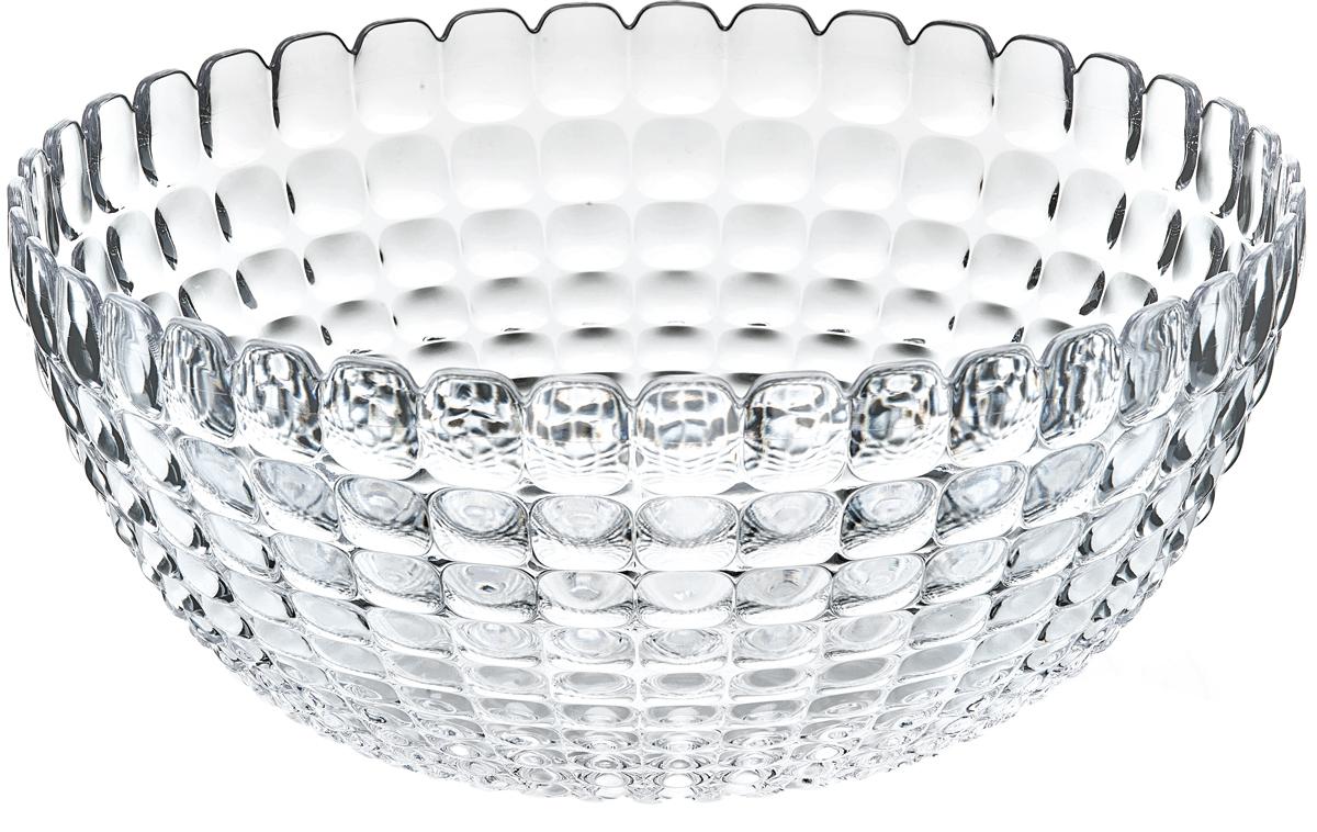 Салатник Guzzini Tiffany, цвет: прозрачный, 5 л21383000Элегантный салатник Guzzini Tiffany станет настоящим украшением любого стола. Его можно использовать не только для салатов, но также для подачи фруктов, выпечки и различных угощений. Идеально подходит для сервировки на свежем воздухе - рельефная форма в сочетании с прозрачным материалом заставляет поверхность сверкать и переливаться на свету. Органическое стекло, из которого изготовлен салатник, характеризуется легкостью и устойчивостью к износу.Не содержит вредных примесей и бисфенола-А. Можно мыть в посудомоечной машине.