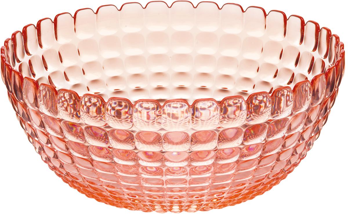 Салатница Guzzini Tiffany, цвет: коралловый, размер XL, 5 л21383023Яркая и нарядная салатница Tiffany станет настоящим украшением любого стола. Её можно использовать не только для салатов, но так же для подачи фруктов, выпечки и различных угощений. Идеально подходит для сервировки на свежем воздухе - рельефная форма в сочетании с прозрачным материалом заставляет поверхность сверкать и переливаться на свету. Объем - 5 л. Органическое стекло, из которого изготовлена салатница, характеризуется легкостью и устойчивостью к износу. Не содержит вредных примесей и бисфенола-А. Можно мыть в посудомоечной машине.