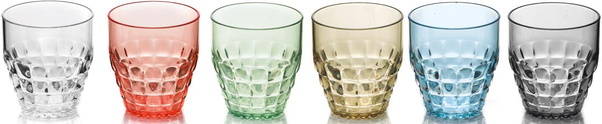 """Легкий и яркий дизайн стаканов Guzzini """"Tiffany"""" будто намекает на освежающие лимонады, бодрящие соки и цитрусовые коктейли. Отличаются конической формой и прозрачным материалом, который придает стаканам характерный блеск. Сверкающий эффект усиливается на солнечном свету, поэтому стаканы станут отличным решением для подачи напитков на свежем воздухе.Объем каждого стакана - 350 мл. Они идеально подойдут для использования каждый день - добавят яркий акцент пространству кухни или гостиной. Изготовлены из высококачественного органического стекла, устойчивого к износу и повреждениям.Не содержат вредных примесей и бисфенола-А. Можно мыть в посудомоечной машине."""
