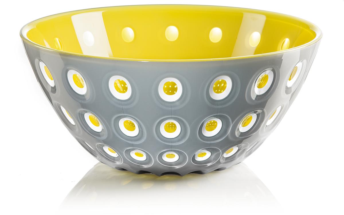 Салатник Guzzini Le Murrine, цвет: серый, желтый, диаметр 25 см, 2,7 л279425141Оригинальный салатник Guzzini Le Murrine является результатом инновационного исследования Guzzini в области форм и материалов. Технология инжекторной трехцветной штамповки 3 Color Tech образует уникальный эффект, который делает салатник изысканным и неповторимым предметом для сервировки. Наложенные друг на друга три слоя пластика позволяют создавать игру цвета, чередовать плотные и прозрачные, полированные и матовые поверхности. Салатник подойдет для подачи десертов, выпечки, мороженого и других блюд, а также может служить изящным декоративным элементом вашего дома.Салатник изготовлен из безопасного высококачественного пластика, устойчивого к износу и повреждениям.