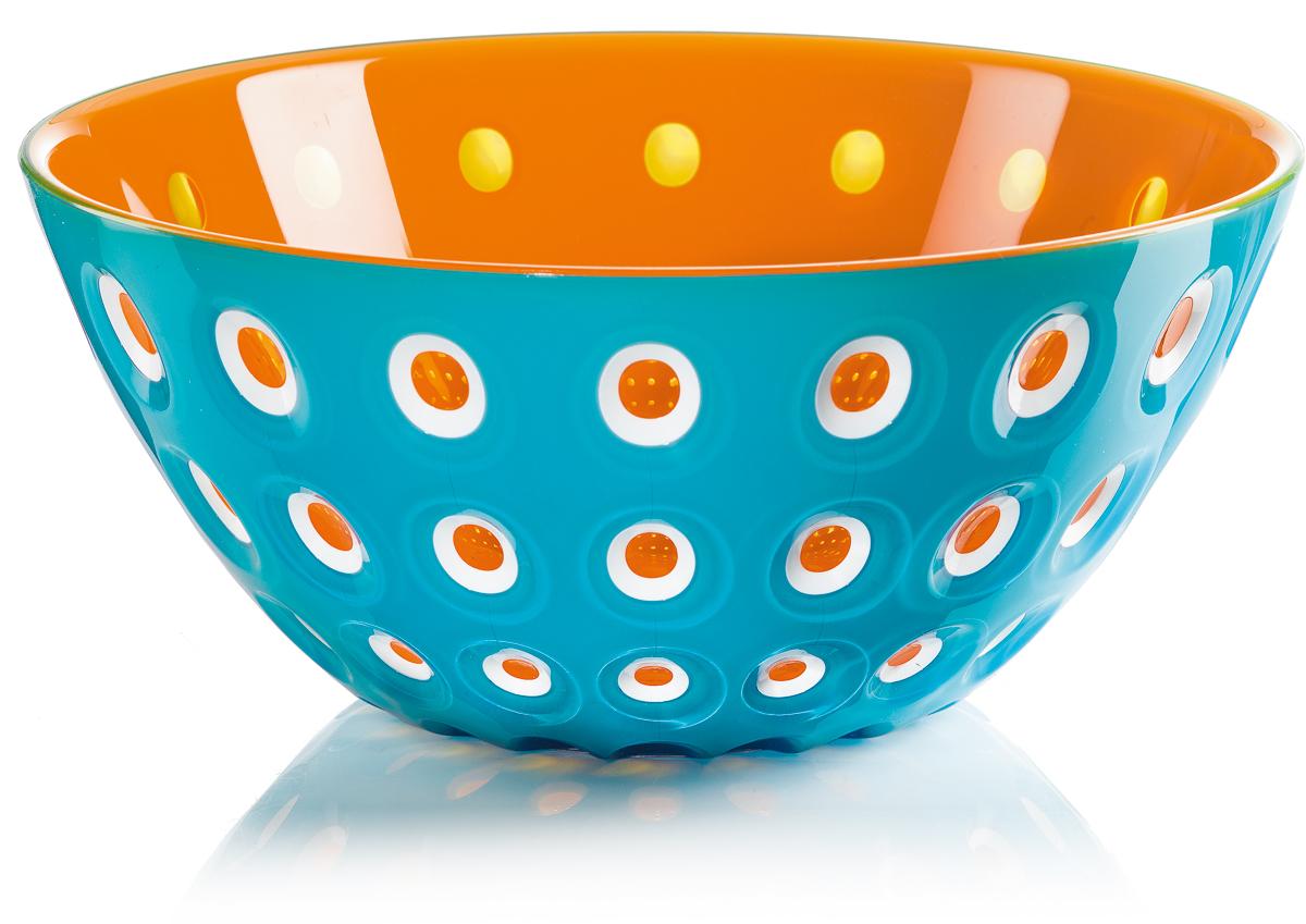Салатник Guzzini Le Murrine, цвет: бирюзовый, оранжевый, диаметр 25 см, 2,7 л1625396Оригинальный салатник Guzzini Le Murrine является результатом инновационного исследования Guzzini в области форм и материалов. Технология инжекторной трехцветной штамповки 3 Color Tech образует уникальный эффект, который делает салатник изысканным и неповторимым предметом для сервировки. Наложенные друг на друга три слоя пластика позволяют создавать игру цвета, чередовать плотные и прозрачные, полированные и матовые поверхности. Салатник подойдет для подачи десертов, выпечки, мороженого и других блюд, а также может служить изящным декоративным элементом вашего дома.Салатник изготовлен из безопасного высококачественного пластика, устойчивого к износу и повреждениям.