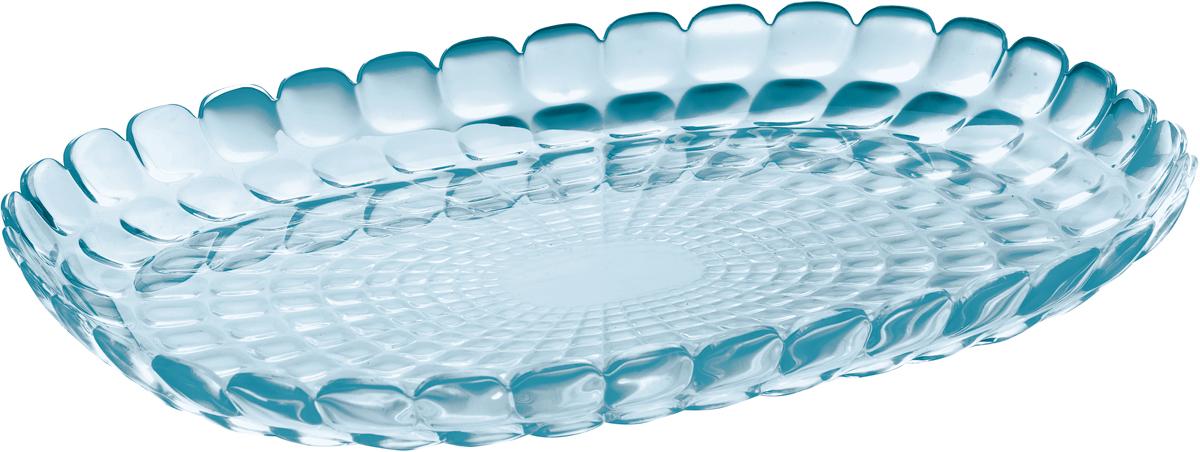 """Изящный поднос Guzzini """"Tiffany"""" предназначен стать украшением любого стола.  Используйте его для подачи основных блюд, салатов, закусок, десертов и  выпечки. Идеально подходит для сервировки на свежем воздухе - рельефная  форма подноса в сочетании с прозрачным материалом заставляет поверхность  сверкать и переливаться на свету.  Органическое стекло, из которого изготовлен поднос, характеризуется  устойчивостью к износу и повреждениям. Материал не содержит вредных  примесей и бисфенола-А.  Поднос можно мыть в посудомоечной машине."""
