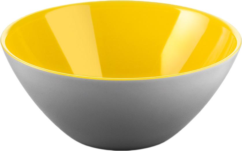 Салатница Guzzini My Fusion, цвет: серый, желтый, 20 см, 1,15 л281420141Минималистский дизайн салатницы My Fusion неслучайно напоминает о древних традициях восточной лакировки: вся коллекция была создана японскими дизайнерами, сотрудничающими с Guzzini. Строгие и простые формы, в которых нет ничего лишнего, гармонично сочетаются с теплыми осенними цветами и яркими экзотическими оттенками, а глянцевая внутренняя поверхность и матовая внешняя только подчеркивают цветовой контраст.Салатница подойдет для подачи десертов, выпечки, мороженого и других блюд, а так же может служить изящным декоративным элементом вашего дома. Объем 1,15 л. Изготовлена из безопасного высококачественного пластика, устойчивого к износу и повреждениям.
