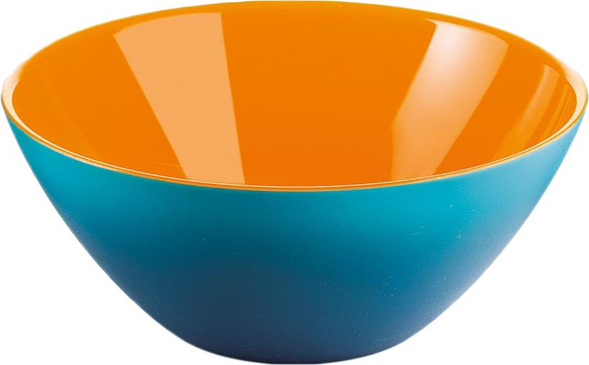 Салатница Guzzini My Fusion, цвет: голубой, оранжевый, 20 см, 1,15 л281420145Минималистский дизайн салатницы My Fusion неслучайно напоминает о древних традициях восточной лакировки: вся коллекция была создана японскими дизайнерами, сотрудничающими с Guzzini. Строгие и простые формы, в которых нет ничего лишнего, гармонично сочетаются с теплыми осенними цветами и яркими экзотическими оттенками, а глянцевая внутренняя поверхность и матовая внешняя только подчеркивают цветовой контраст.Салатница подойдет для подачи десертов, выпечки, мороженого и других блюд, а так же может служить изящным декоративным элементом вашего дома. Объем 1,15 л. Изготовлена из безопасного высококачественного пластика, устойчивого к износу и повреждениям.