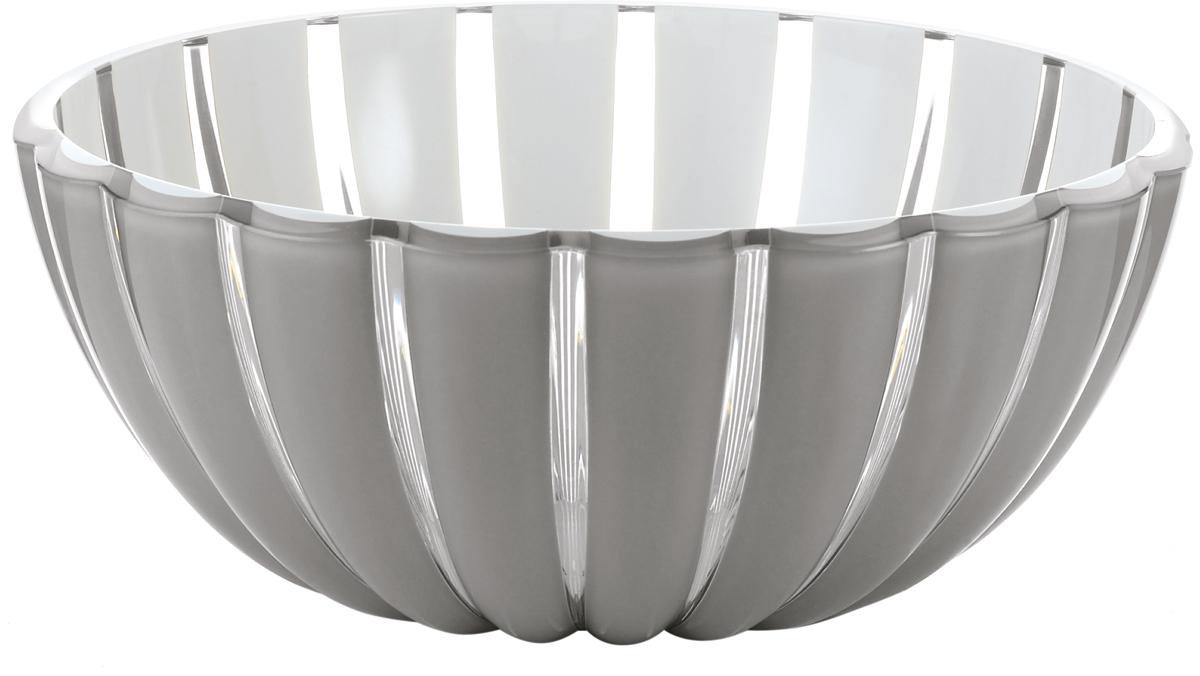 Миска Guzzini Grace, цвет: серый, диаметр 12 см29691292Миска Guzzini Grace выглядит настолько изящно, что кажется, будто она сделана из стекла. Ее главный секрет - необычная форма, в которой внешние, объемные и волнообразные края контрастируют с белоснежной и гладкой внутренней поверхностью. Вместе они образуют уникальный рельефный эффект, который усиливается на свету.Вместительность миски позволит использовать ее для подачи фруктов, десертов и закусок.Материал - органическое стекло.Можно мыть в посудомоечной машине.