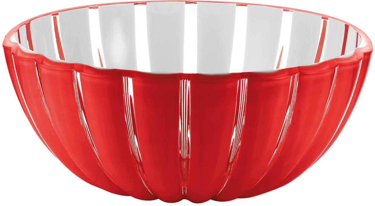 Салатница Guzzini Grace, цвет: красный, 25 см, 3 л29692Салатница Grace выглядит настолько изящно, что кажется, будто она сделана из стекла. Её главный секрет - необычная форма, в которой внешние, объемные и волнообразные края контрастируют с белоснежной и гладкой внутренней поверхностью. Вместе они образуют уникальный рельефный эффект, который усиливается на свету.Вместительность салатницы позволит использовать её для подачи фруктов, десертов, закусок и основных блюд. Объем - 3 л. Материал - органическое стекло. Можно мыть в посудомоечной машине.