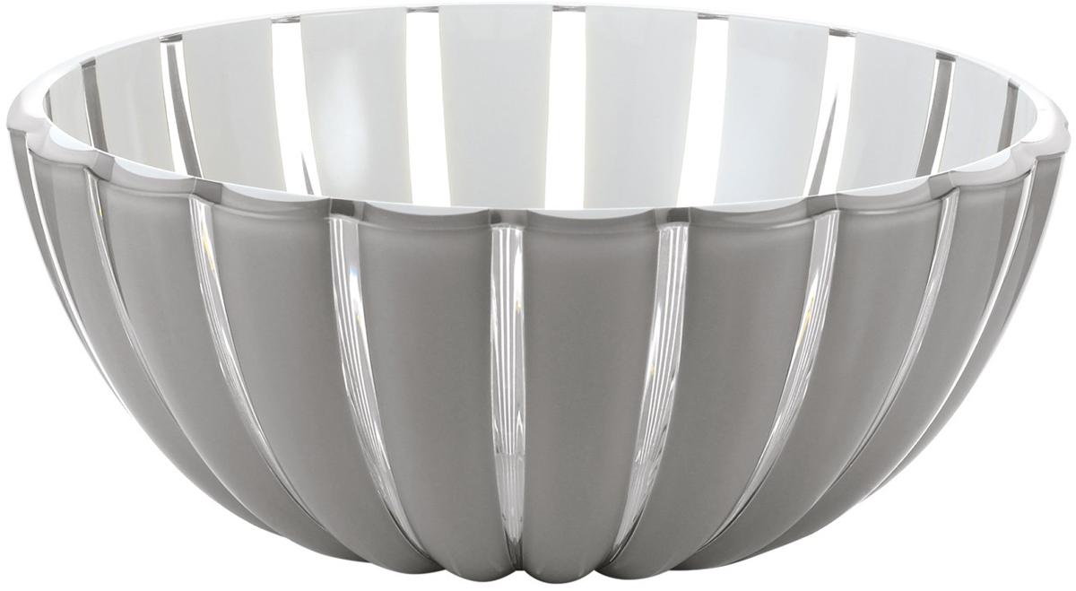 Салатница Guzzini Grace, цвет: серый, 25 см, 3 л29692592Салатница Grace выглядит настолько изящно, что кажется, будто она сделана из стекла. Её главный секрет - необычная форма, в которой внешние, объемные и волнообразные края контрастируют с белоснежной и гладкой внутренней поверхностью. Вместе они образуют уникальный рельефный эффект, который усиливается на свету.Вместительность салатницы позволит использовать её для подачи фруктов, десертов, закусок и основных блюд. Объем - 3 л. Материал - органическое стекло. Можно мыть в посудомоечной машине.