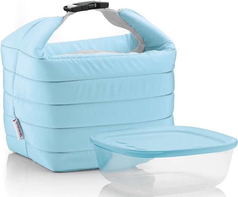 Набор Guzzini Handy: термосумка, контейнер, цвет: голубой, 1,4 л32950134Дизайнеры Guzzini доказали, что сумка для обедов является не просто необходимым предметом на каждый день, но может стать еще и модным аксессуаром. Вся серия Handy отличается стильными цветами, компактной формой и удобной ручкой с полуавтоматической застежкой фастексом. Набор создан специально для тех, кто любит перекусить на ходу и хочет получать полезные вещества и ингредиенты, даже если находится в дороге. Внутри сумки - термоизоляционная фольга, а это значит, что вы сможете наслаждаться горячим супом или прохладным салатом, как будто только что достали их из печи или холодильника.Пищевой контейнер можно хранить в холодильнике, а также использовать в морозильной камере и микроволновой печи. Он полностью герметичен и при этом достаточно легко открывается. И контейнер, и сумку можно использовать как вместе, так и по отдельности.