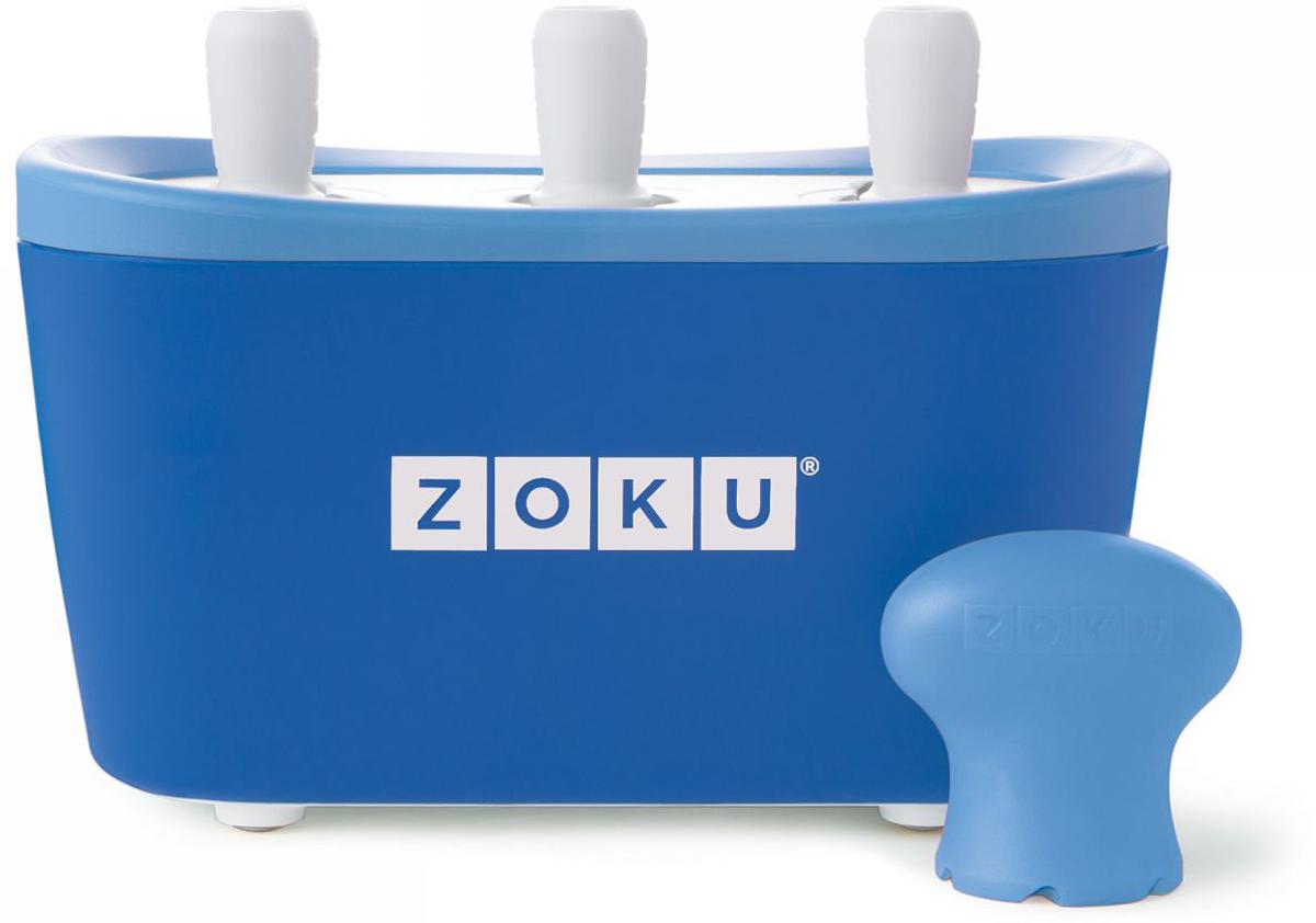 Набор для приготовления мороженого Zoku Triple Quick Pop Maker, цвет: синий, 3 х 60 мл. ZK101-BLZK101-BLС компактной и удобной формой Quick Pop Maker можно приготовить домашний фруктовый лед из полностью натуральных ингредиентов. В набор помимо формы для мороженого входят шесть палочек, а к ним шесть небольших поддонов для капель и съемная насадка. Как использовать:1. Поместите пустую форму в морозильную камеру на 24 часа. Форма должна быть абсолютно сухой и располагаться вертикально.2. Через сутки вытащите форму из морозилки и вставьте в нее палочки. Залейте охлажденный сок в емкость до отметки. Через 7-10 минут фруктовый лед готов.3. Поместите съемную насадку на палочку и закрутите по часовой стрелке до упора. Когда ручка начнет свободно крутиться, смените направление и откручивайте против часовой стрелки, чтобы вытащить мороженое из формы.Объем одной емкости - 60 мл. Форма не содержит вредных примесей и бисфенола-А. Устройство работает без электричества и позволяет приготовить до 9 порций от одной заморозки. Моется вручную. Не используйте простую и газированную воду или полностью пресные напитки без сахара в приборе Quick Pop. В результате использования воды или напитков без сахара будет крайне тяжело достать продукт из прибора, а также можно повредить насадку или палочку.
