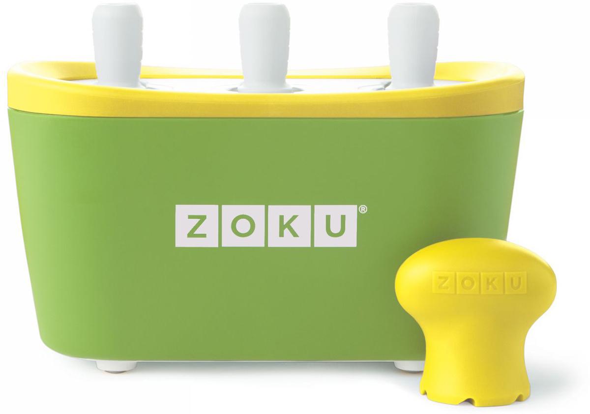 Набор для приготовления мороженого Zoku Triple Quick Pop Maker, цвет: зеленый, 3 х 60 млZK101-GNС компактной и удобной формой Quick Pop Maker можно приготовить домашний фруктовый лед из полностью натуральных ингредиентов. В набор помимо формы для мороженого входят шесть палочек, а к ним шесть небольших поддонов для капель и съемная насадка. Как использовать:1. Поместите пустую форму в морозильную камеру на 24 часа. Форма должна быть абсолютно сухой и располагаться вертикально.2. Через сутки вытащите форму из морозилки и вставьте в нее палочки. Залейте охлажденный сок в емкость до отметки. Через 7-10 минут фруктовый лед готов.3. Поместите съемную насадку на палочку и закрутите по часовой стрелке до упора. Когда ручка начнет свободно крутиться, смените направление и откручивайте против часовой стрелки, чтобы вытащить мороженое из формы.Объем одной емкости - 60 мл. Форма не содержит вредных примесей и бисфенола-А. Устройство работает без электричества и позволяет приготовить до 9 порций от одной заморозки. Моется вручную. Не используйте простую и газированную воду или полностью пресные напитки без сахара в приборе Quick Pop. В результате использования воды или напитков без сахара будет крайне тяжело достать продукт из прибора, а также можно повредить насадку или палочку.
