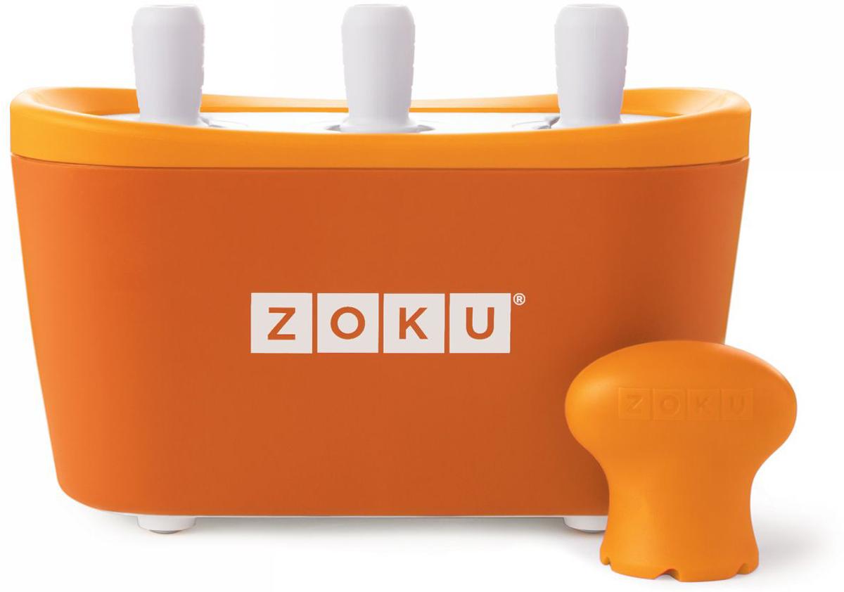 Набор для приготовления мороженого Zoku Triple Quick Pop Maker, цвет: оранжевый, 3 х 60 млZK101-ORС компактной и удобной формой Quick Pop Maker можно приготовить домашний фруктовый лед из полностью натуральных ингредиентов. В набор помимо формы для мороженого входят шесть палочек, а к ним шесть небольших поддонов для капель и съемная насадка. Как использовать:1. Поместите пустую форму в морозильную камеру на 24 часа. Форма должна быть абсолютно сухой и располагаться вертикально.2. Через сутки вытащите форму из морозилки и вставьте в нее палочки. Залейте охлажденный сок в емкость до отметки. Через 7-10 минут фруктовый лед готов.3. Поместите съемную насадку на палочку и закрутите по часовой стрелке до упора. Когда ручка начнет свободно крутиться, смените направление и откручивайте против часовой стрелки, чтобы вытащить мороженое из формы.Объем одной емкости - 60 мл. Форма не содержит вредных примесей и бисфенола-А. Устройство работает без электричества и позволяет приготовить до 9 порций от одной заморозки. Моется вручную. Не используйте простую и газированную воду или полностью пресные напитки без сахара в приборе Quick Pop. В результате использования воды или напитков без сахара будет крайне тяжело достать продукт из прибора, а также можно повредить насадку или палочку.