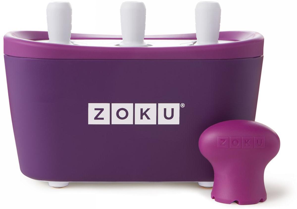 Набор для приготовления мороженого Zoku Triple Quick Pop Maker, цвет: фиолетовый, 3 х 60 млZK101-PUС компактной и удобной формой Quick Pop Maker можно приготовить домашний фруктовый лед из полностью натуральных ингредиентов. В набор помимо формы для мороженого входят шесть палочек, а к ним шесть небольших поддонов для капель и съемная насадка. Как использовать:1. Поместите пустую форму в морозильную камеру на 24 часа. Форма должна быть абсолютно сухой и располагаться вертикально.2. Через сутки вытащите форму из морозилки и вставьте в нее палочки. Залейте охлажденный сок в емкость до отметки. Через 7-10 минут фруктовый лед готов.3. Поместите съемную насадку на палочку и закрутите по часовой стрелке до упора. Когда ручка начнет свободно крутиться, смените направление и откручивайте против часовой стрелки, чтобы вытащить мороженое из формы.Объем одной емкости - 60 мл. Форма не содержит вредных примесей и бисфенола-А. Устройство работает без электричества и позволяет приготовить до 9 порций от одной заморозки. Моется вручную. Не используйте простую и газированную воду или полностью пресные напитки без сахара в приборе Quick Pop. В результате использования воды или напитков без сахара будет крайне тяжело достать продукт из прибора, а также можно повредить насадку или палочку.
