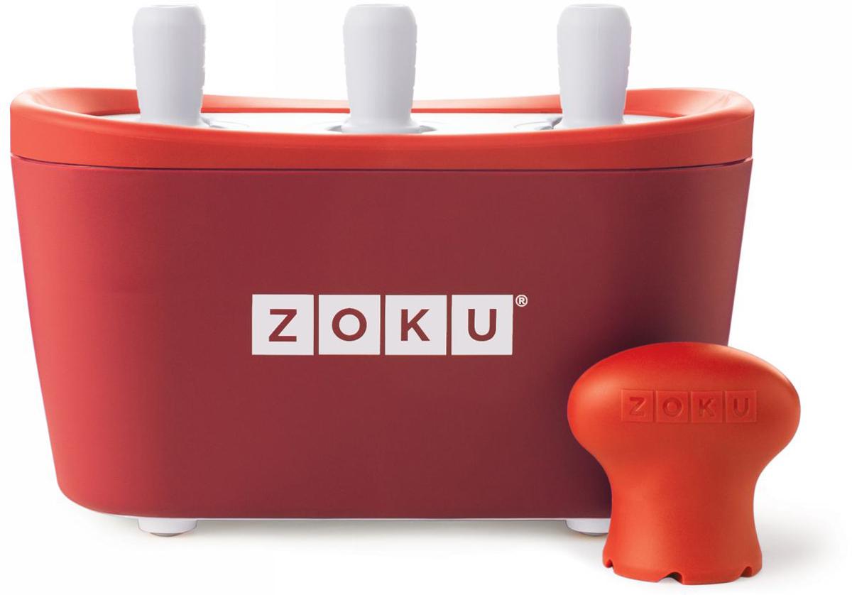 Набор для приготовления мороженого Zoku Triple Quick Pop Maker, цвет: красный, 3 х 60 мл. ZK101-RDZK101-RDС компактной и удобной формой Quick Pop Maker можно приготовить домашний фруктовый лед из полностью натуральных ингредиентов. В набор помимо формы для мороженого входят шесть палочек, а к ним шесть небольших поддонов для капель и съемная насадка. Как использовать:1. Поместите пустую форму в морозильную камеру на 24 часа. Форма должна быть абсолютно сухой и располагаться вертикально.2. Через сутки вытащите форму из морозилки и вставьте в нее палочки. Залейте охлажденный сок в емкость до отметки. Через 7-10 минут фруктовый лед готов.3. Поместите съемную насадку на палочку и закрутите по часовой стрелке до упора. Когда ручка начнет свободно крутиться, смените направление и откручивайте против часовой стрелки, чтобы вытащить мороженое из формы.Объем одной емкости - 60 мл. Форма не содержит вредных примесей и бисфенола-А. Устройство работает без электричества и позволяет приготовить до 9 порций от одной заморозки. Моется вручную. Не используйте простую и газированную воду или полностью пресные напитки без сахара в приборе Quick Pop. В результате использования воды или напитков без сахара будет крайне тяжело достать продукт из прибора, а также можно повредить насадку или палочку.