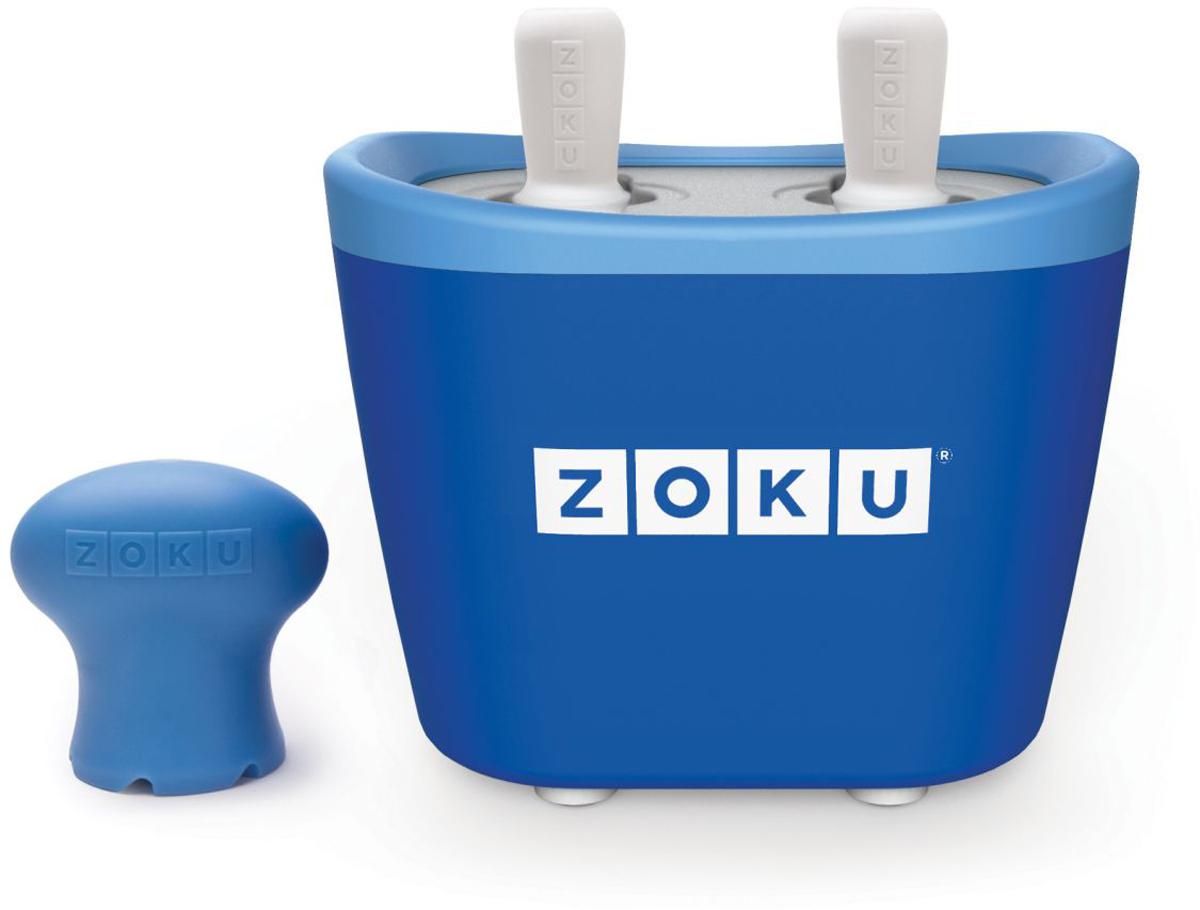 Набор для приготовления мороженого Zoku Duo Quick Pop Maker, цвет: синий, 2 х 60 млZK107-BLС компактной и удобной формой Quick Pop Maker можно приготовить домашний фруктовый лед из полностью натуральных ингредиентов. В набор помимо формы для мороженого входят четыре палочки, а к ним четыре небольших поддона для капель и съемная насадка. Как использовать: 1. Поместите пустую форму в морозильную камеру на 24 часа. Форма должна быть абсолютно сухой и располагаться вертикально. 2. Через сутки вытащите форму из морозилки и вставьте в нее палочки. Залейте охлажденный сок в емкость до отметки. Через 7-10 минут фруктовый лед готов. 3. Поместите съемную насадку на палочку и закрутите по часовой стрелке до упора. Когда ручка начнет свободно крутиться, смените направление и откручивайте против часовой стрелки, чтобы вытащить мороженое из формы.Объем одной емкости - 60 мл. Форма не содержит вредных примесей и бисфенола-А. Устройство работает без электричества и позволяет приготовить до 6 порций от одной заморозки. Моется вручную. Не используйте простую и газированную воду или полностью пресные напитки без сахара в приборе Quick Pop. В результате использования воды или напитков без сахара будет крайне тяжело достать продукт из прибора, а также можно повредить насадку или палочку.